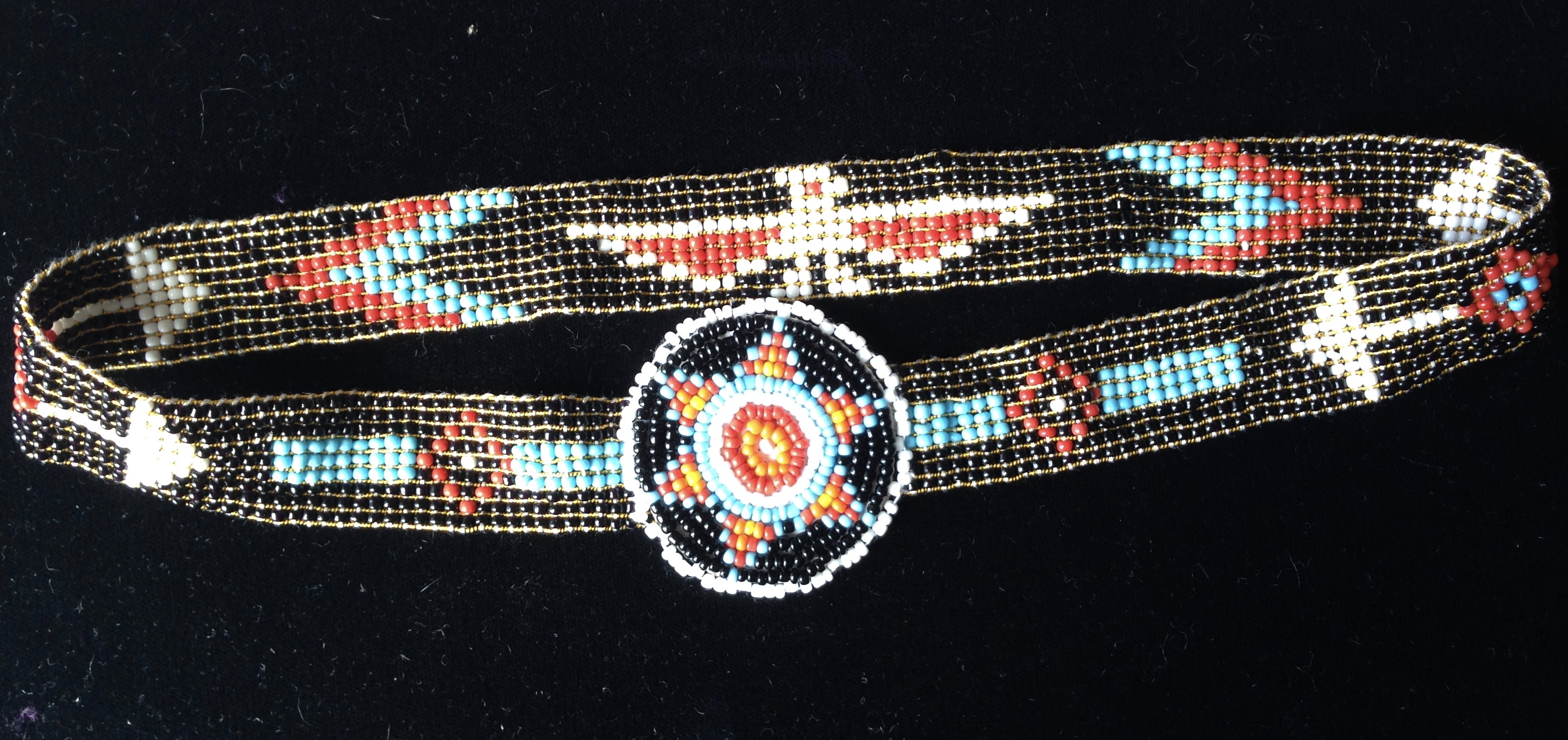Native American Beaded Headband - stretch