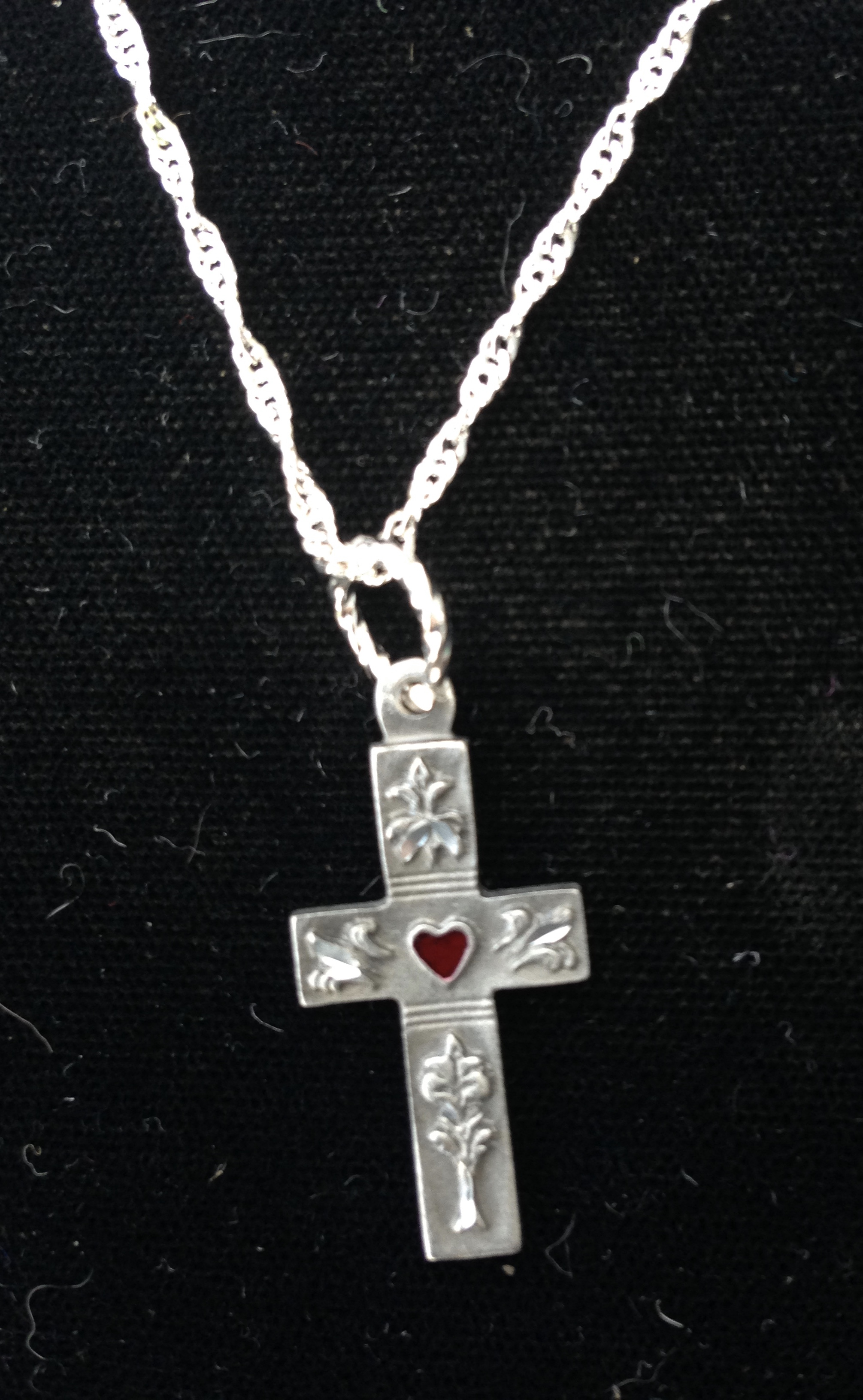 Pewter Cross with Heart in Center