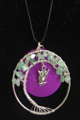 Green Aventurine Moon and Owl with Disk Necklace