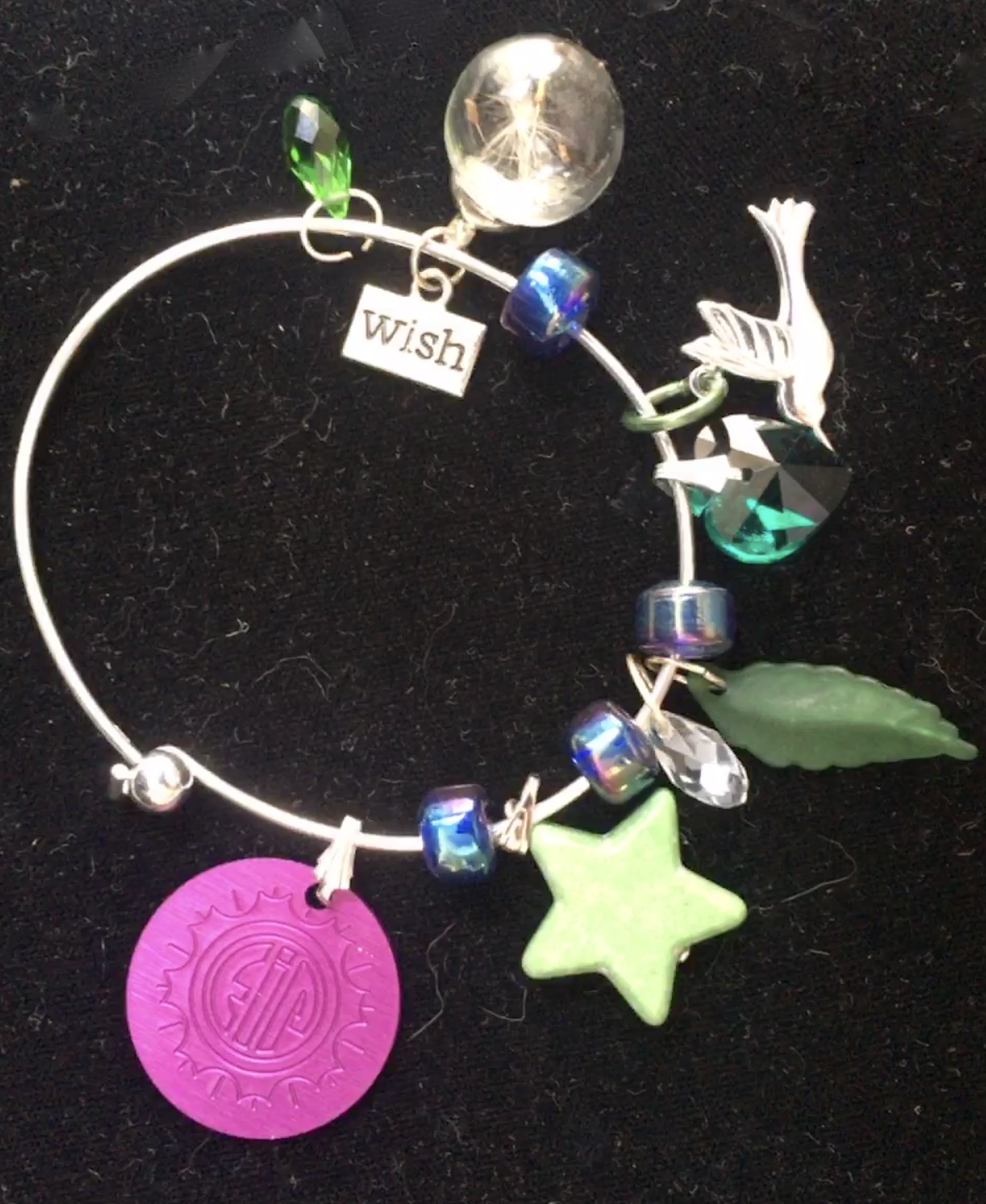 Wish Charm Bangle with Purple Energy Disk