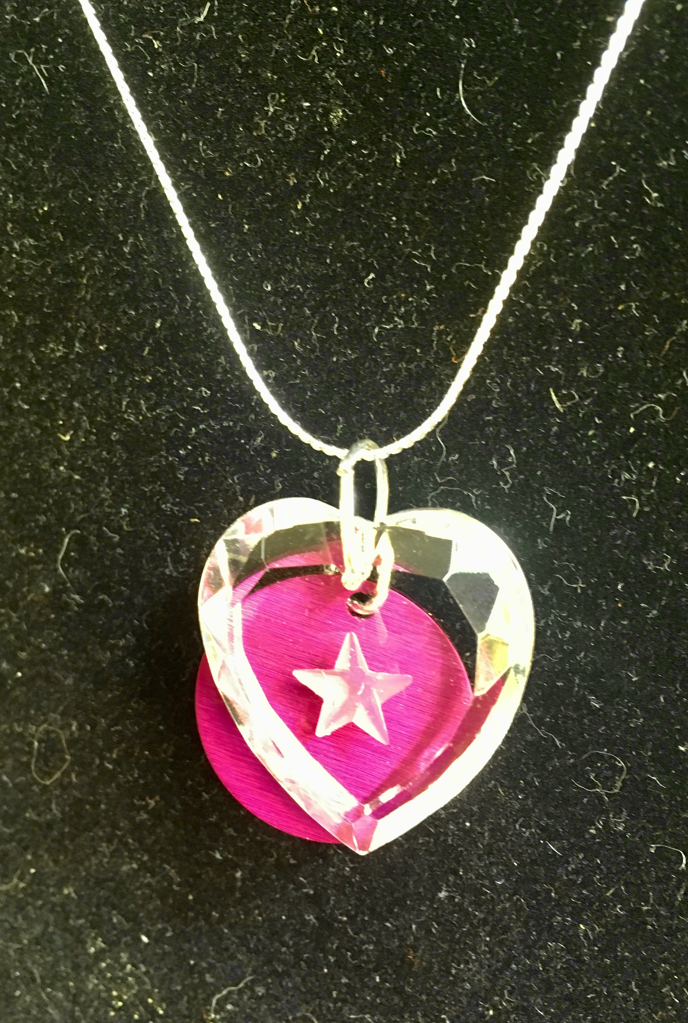 Crystal Heart with Incised Star & Purple Energy Disk Pendant