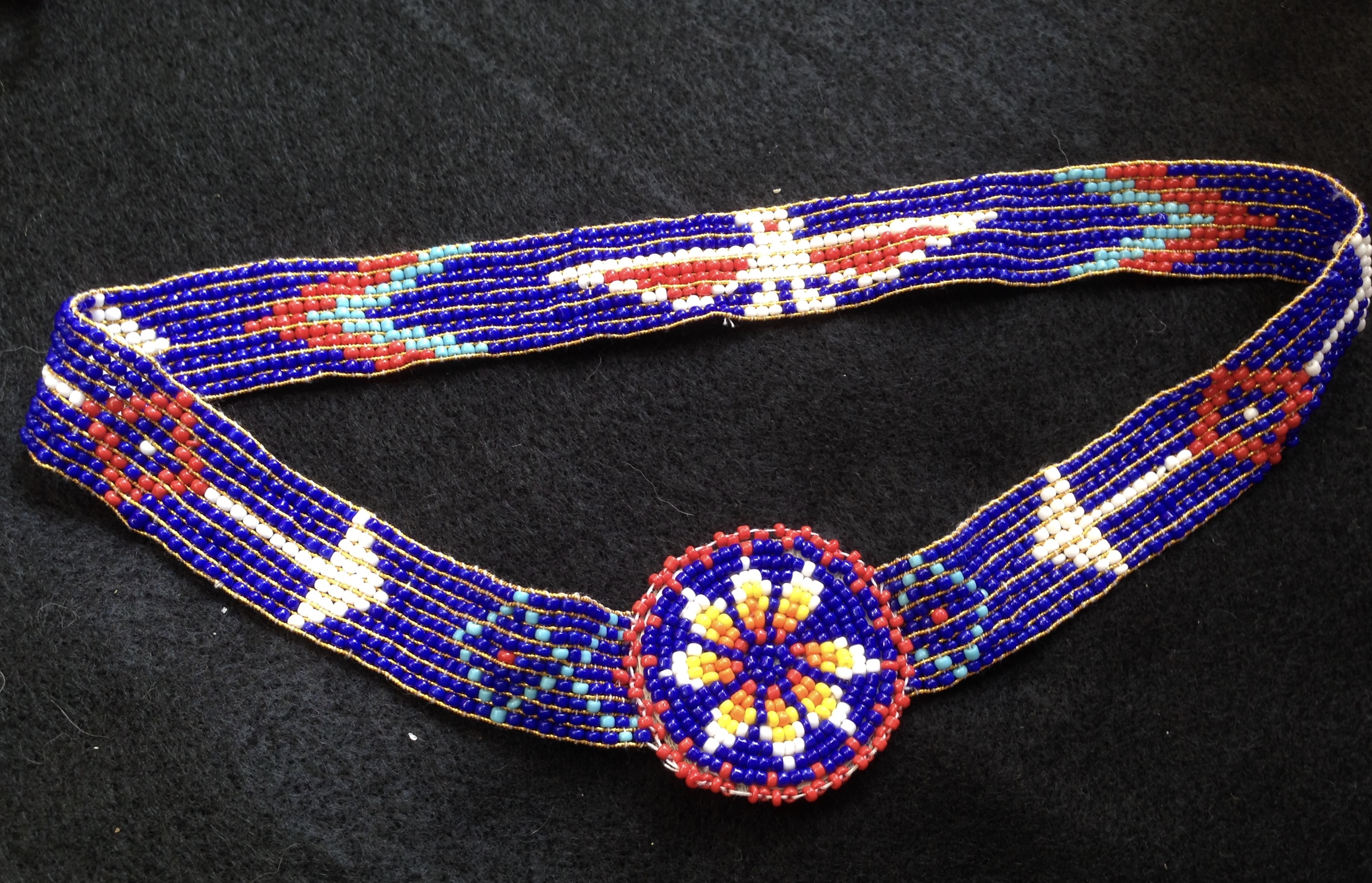 Blue Beaded Stretch Native American Headband