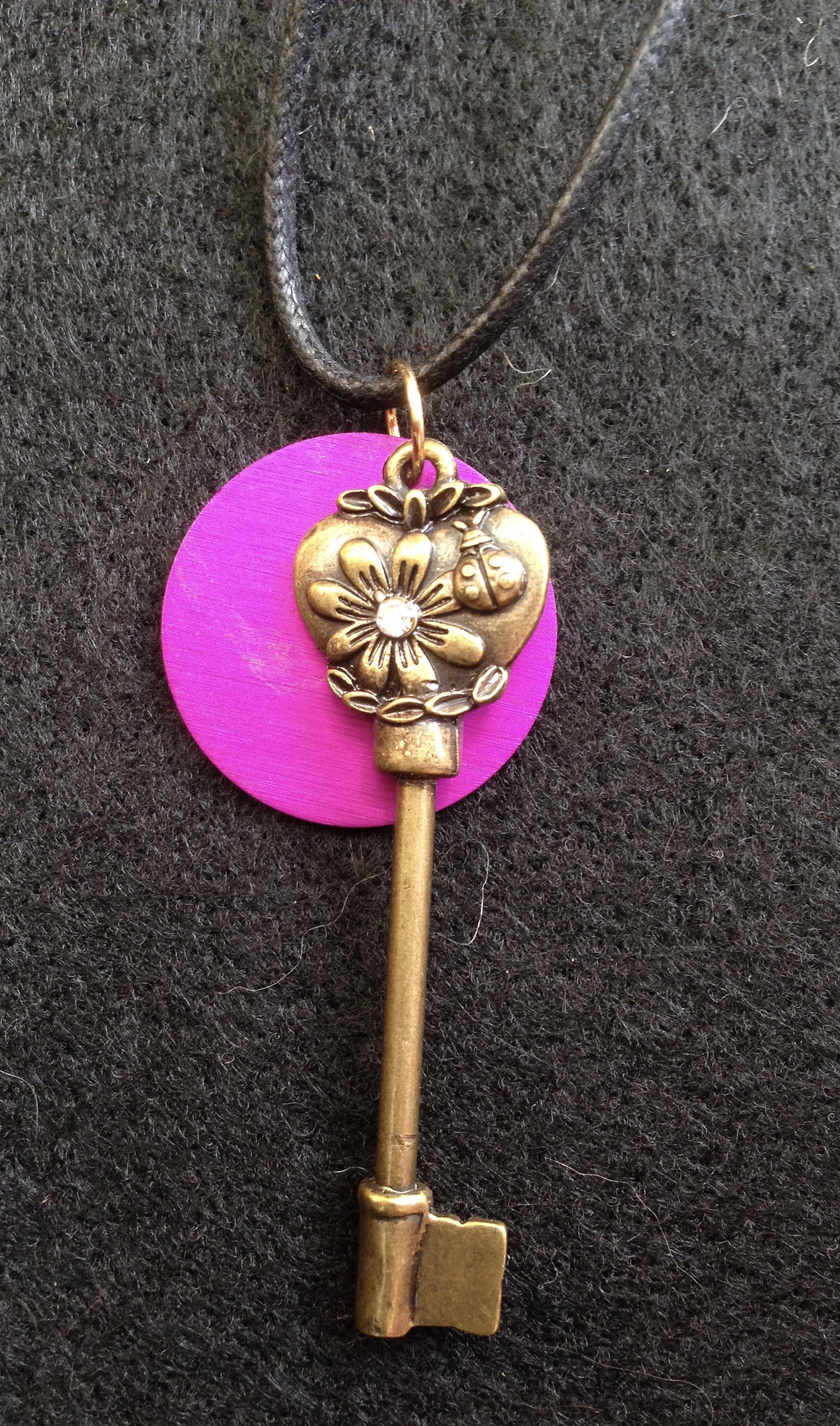 Gold Key with Purple Energy Disk Necklace