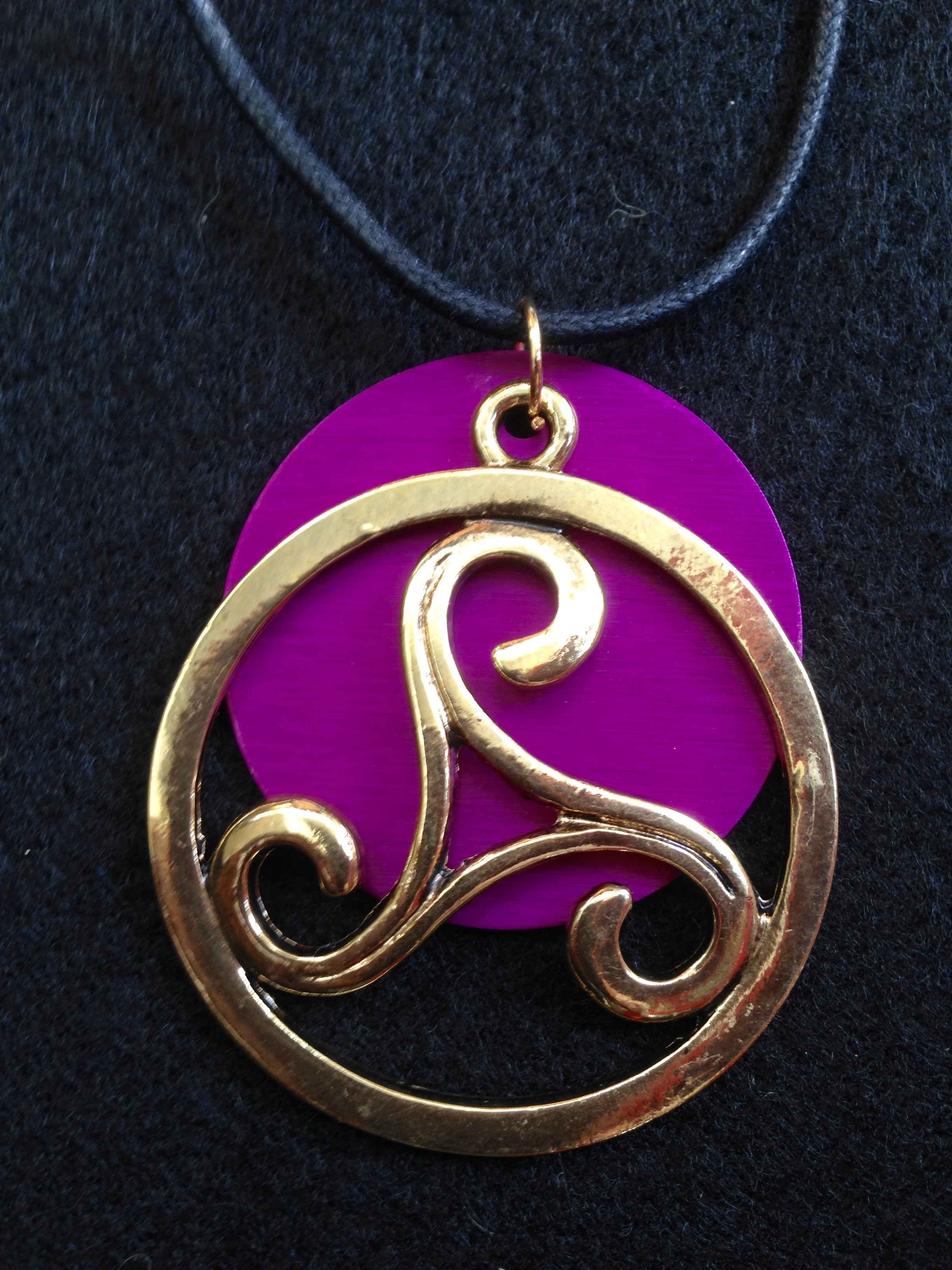 Gold Circle with Large Purple Energy Disk Necklace