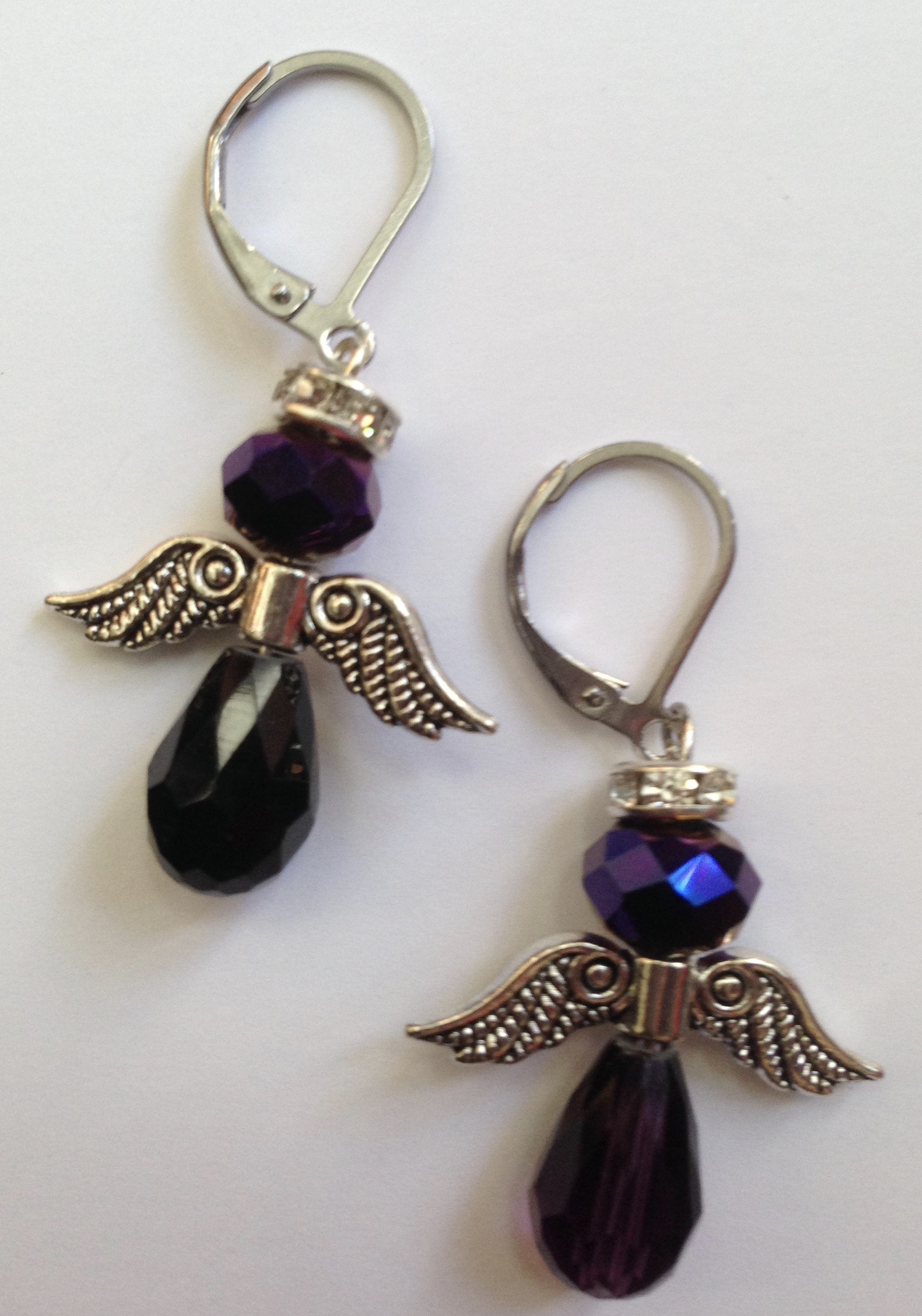 Purple Bead Angel Earrings