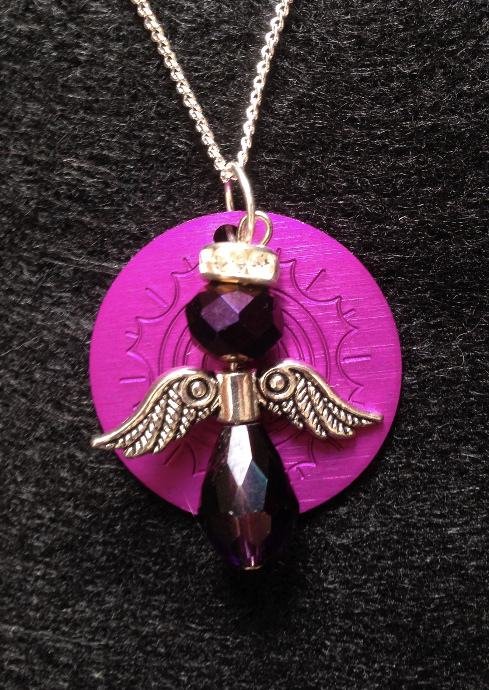 Purple Bead Angel with Small Energy Disk Necklace