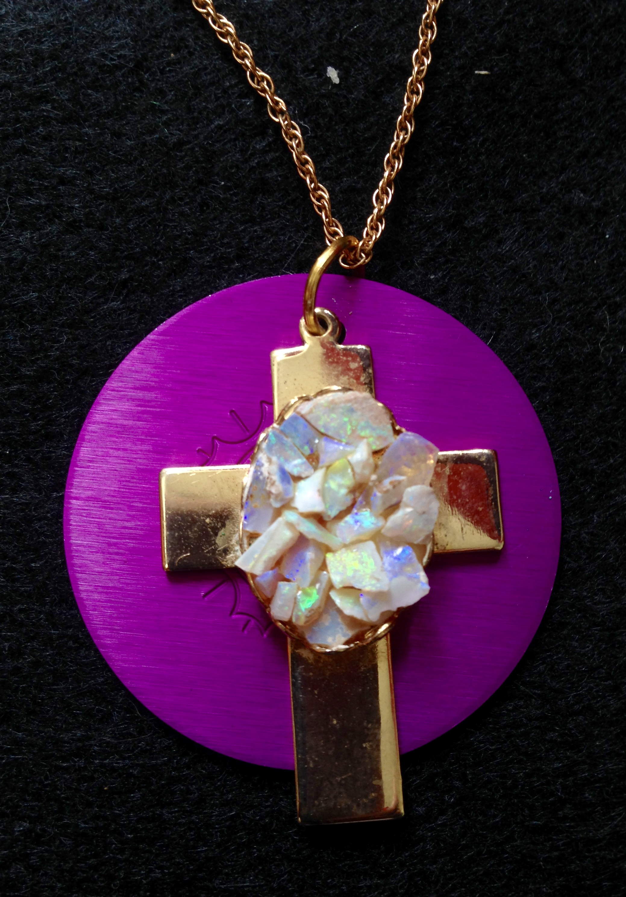 Gold Cross with Opal Chips and Energy Disk Necklace