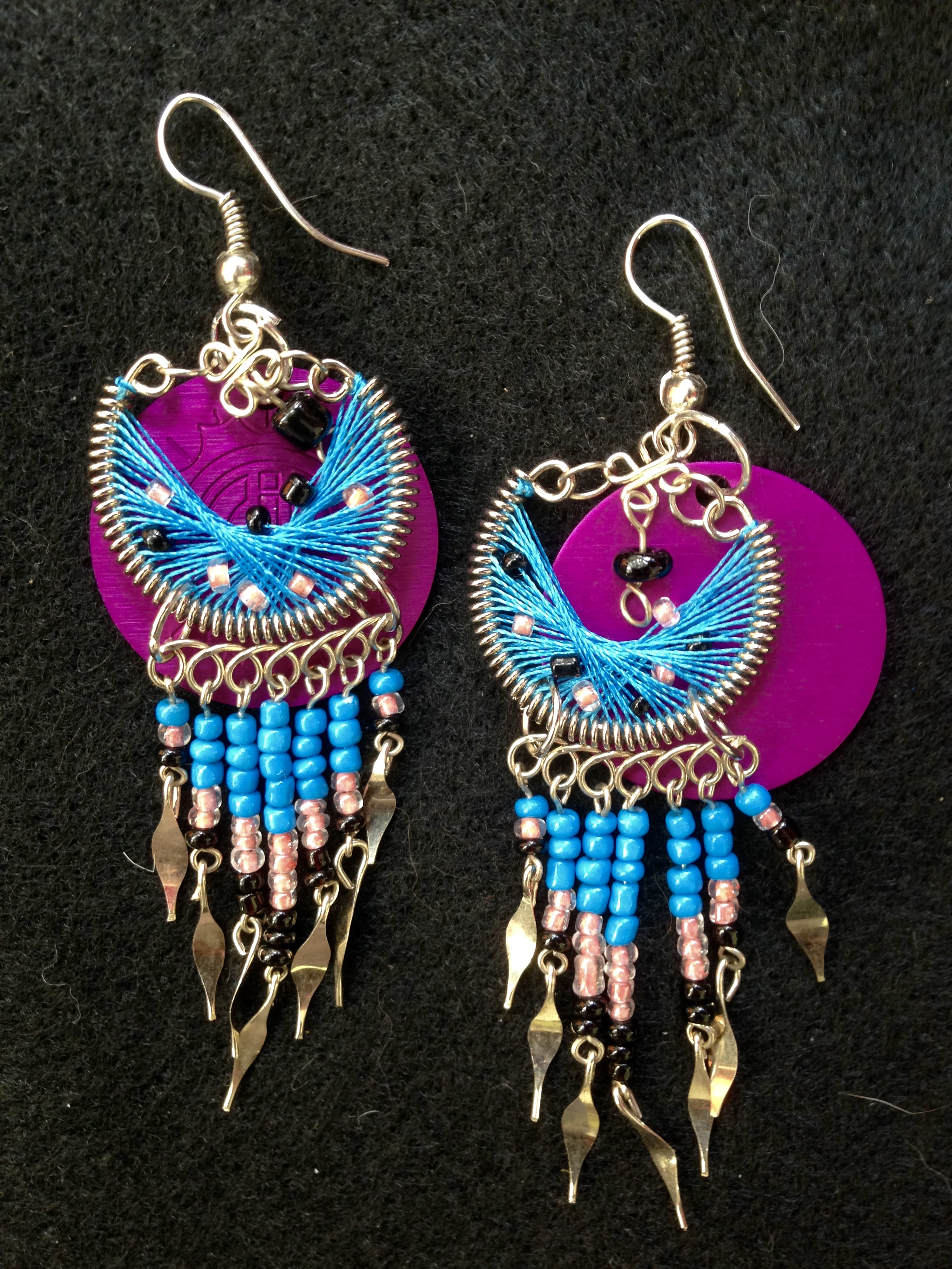 Show-stopping Beaded and Purple Disk Earrings