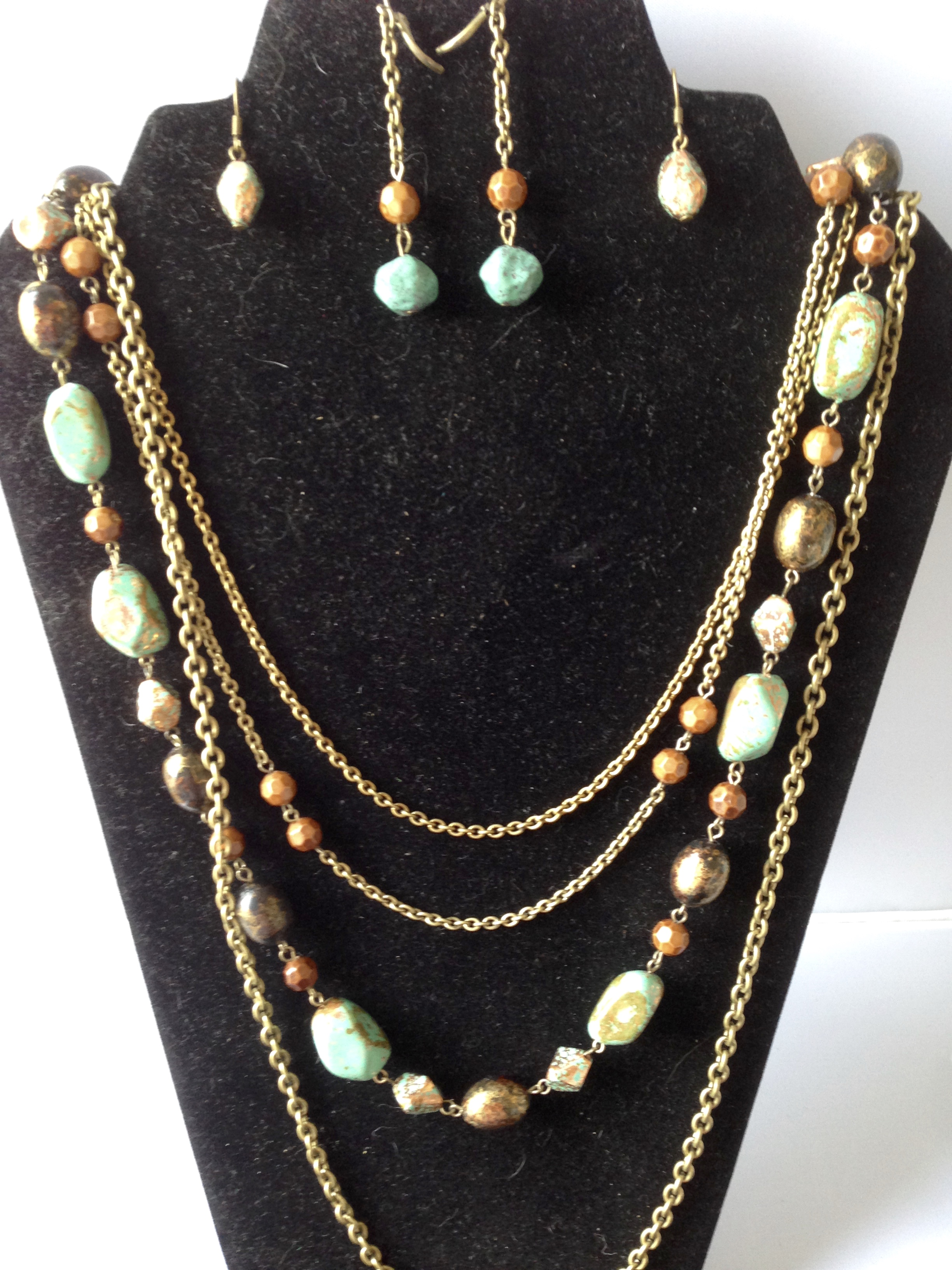 SALE: Set of 2 Pr. Earrings and Multi Chain Necklace