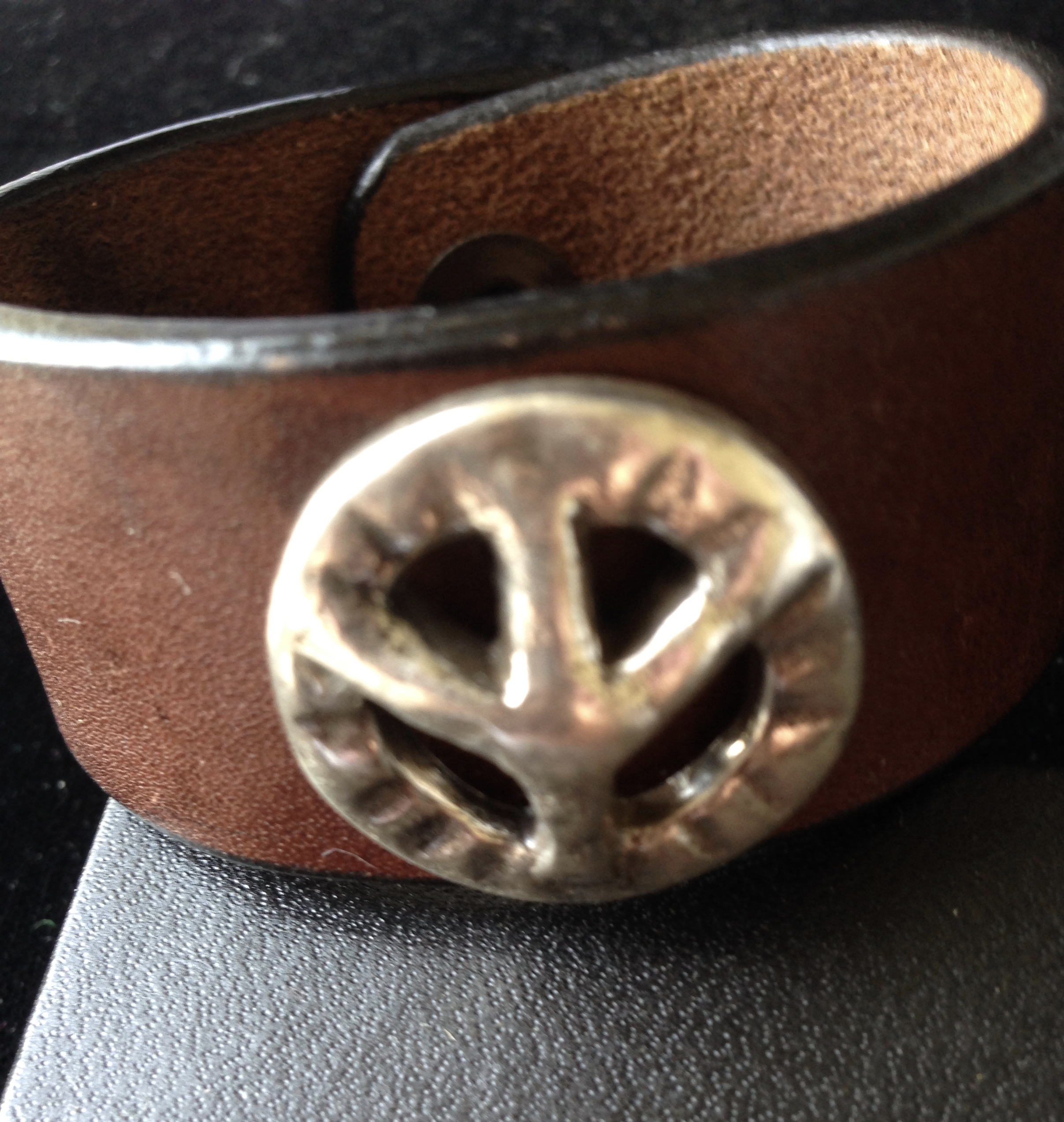 Leather Cuff with Peace Symbol