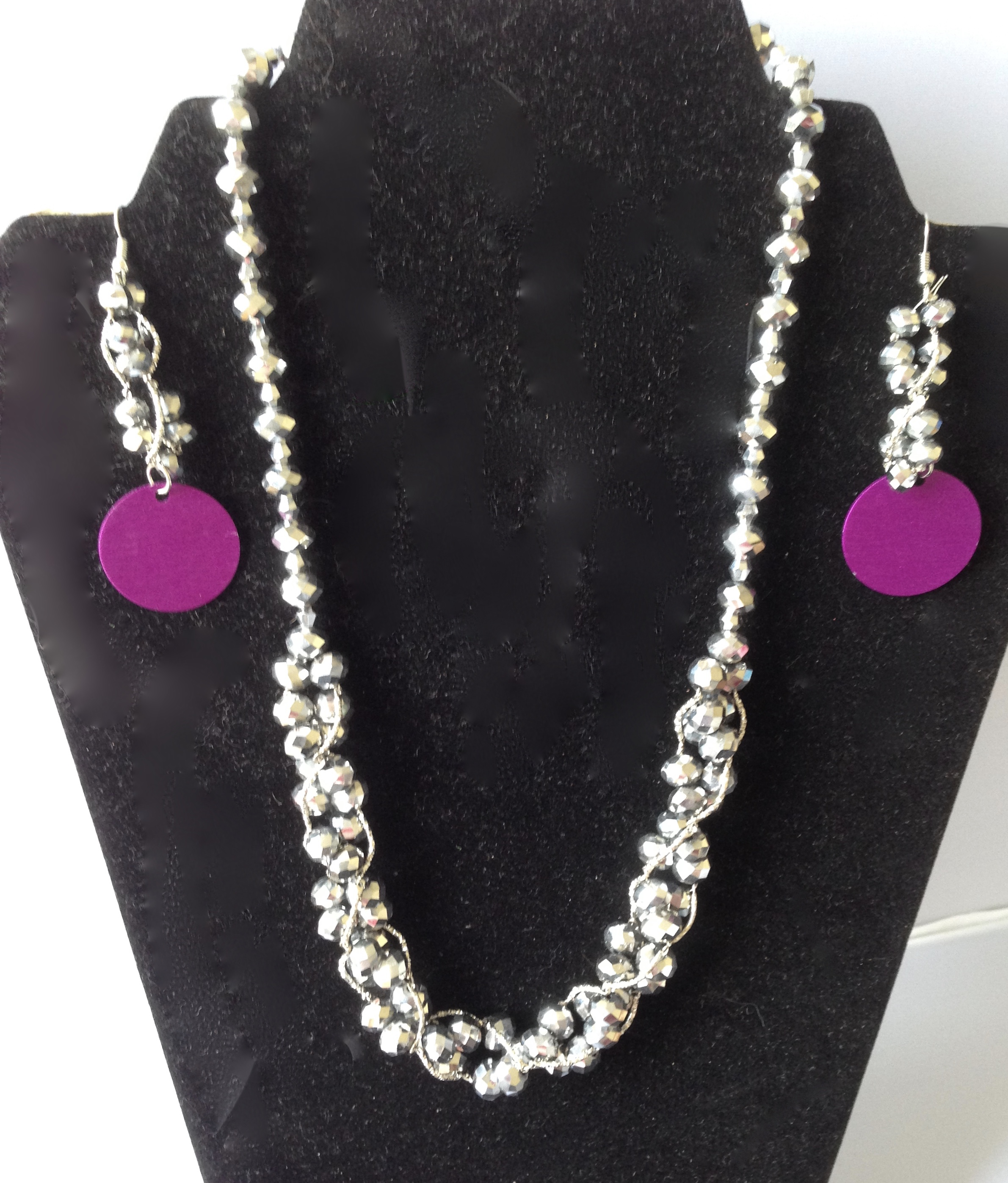 Silver Bead Necklace and Earrings Set
