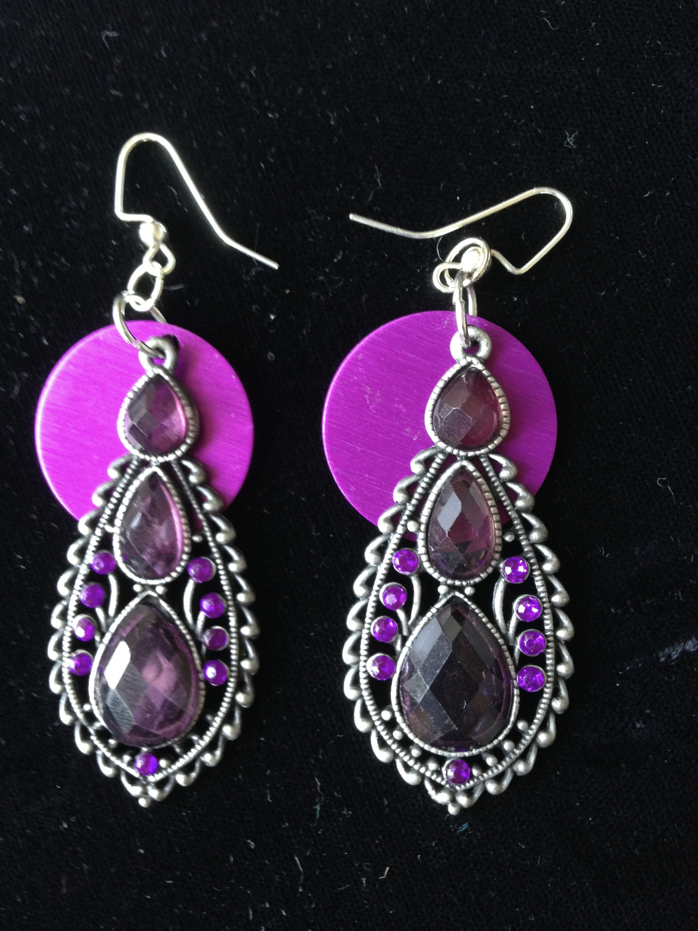 Dramatic Purple Stone Danglers