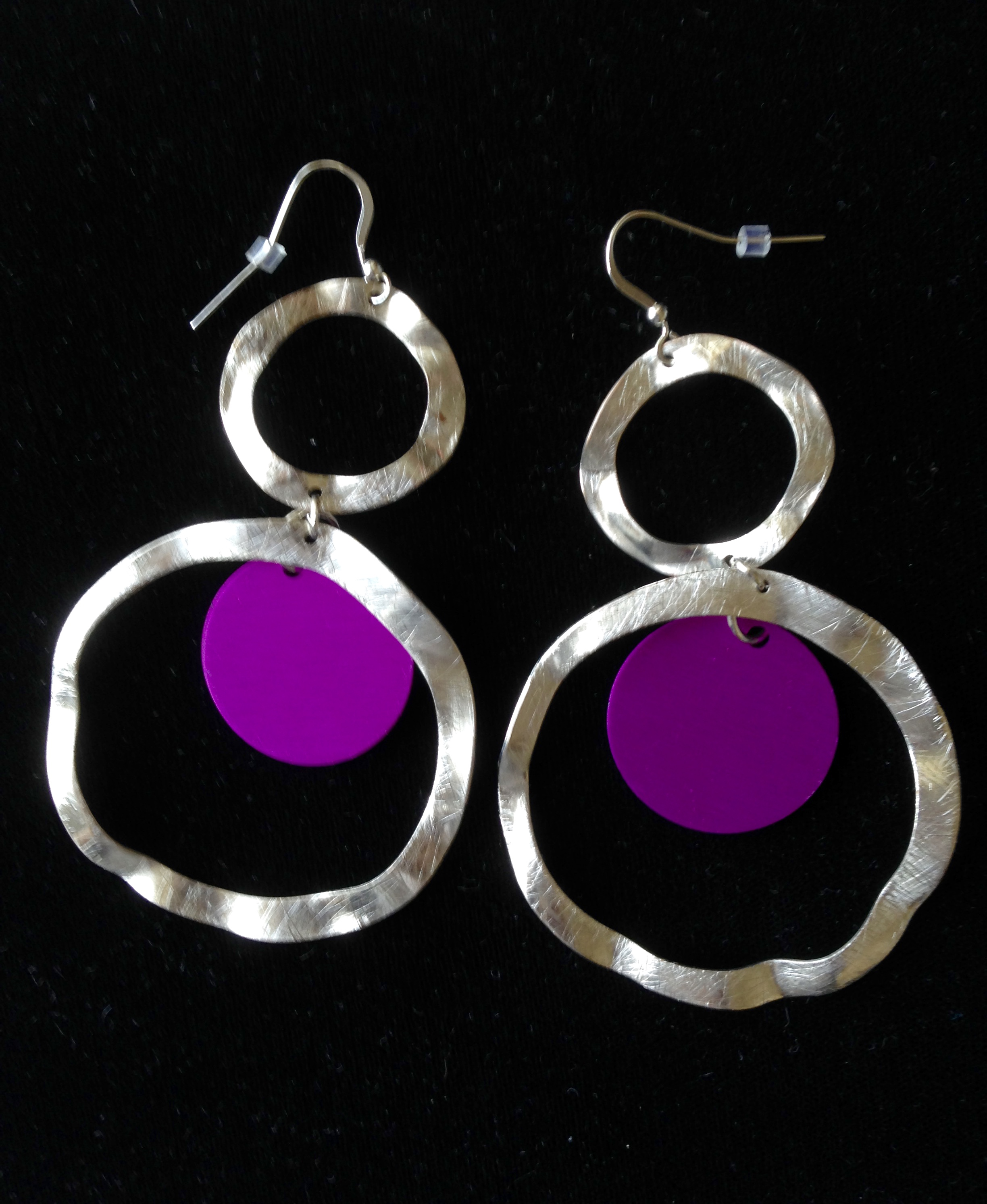 "Two Circle ""Hammered"" Silver Earrings"