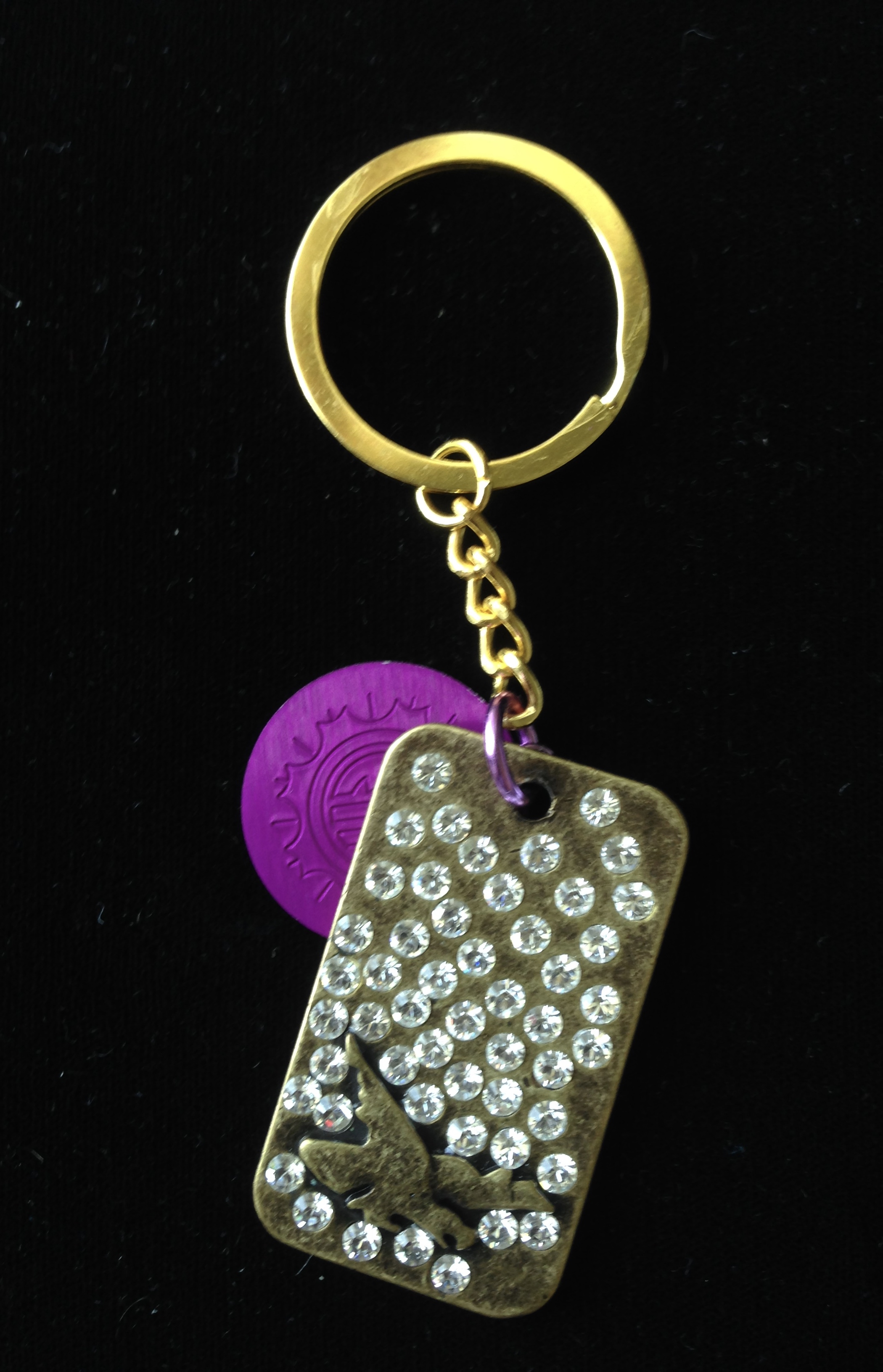 Glitzy Keychain with Purple Disk