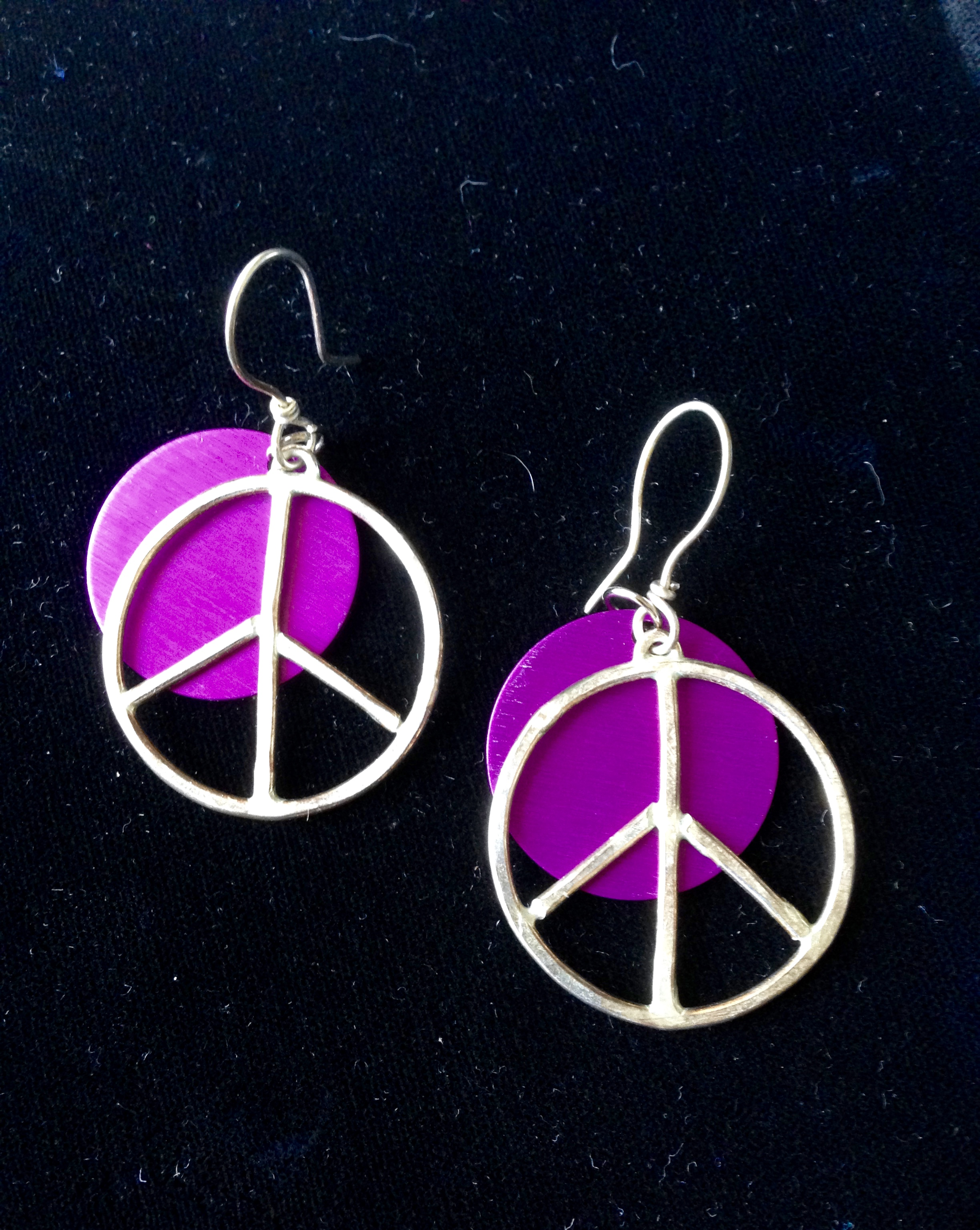 Sterling Peace Sign Earrings