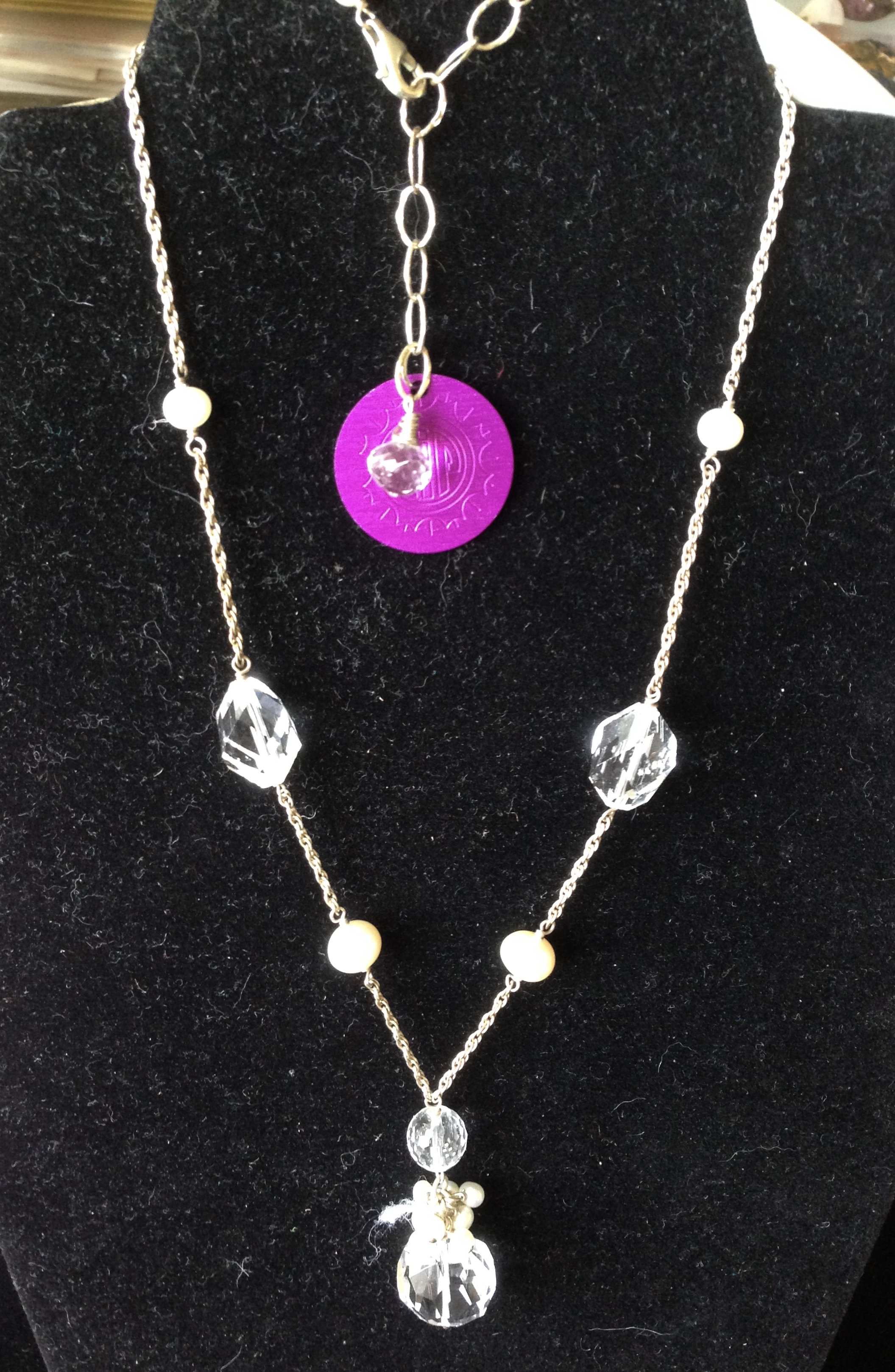 Crystal Chandelier Pendant with Purple disk