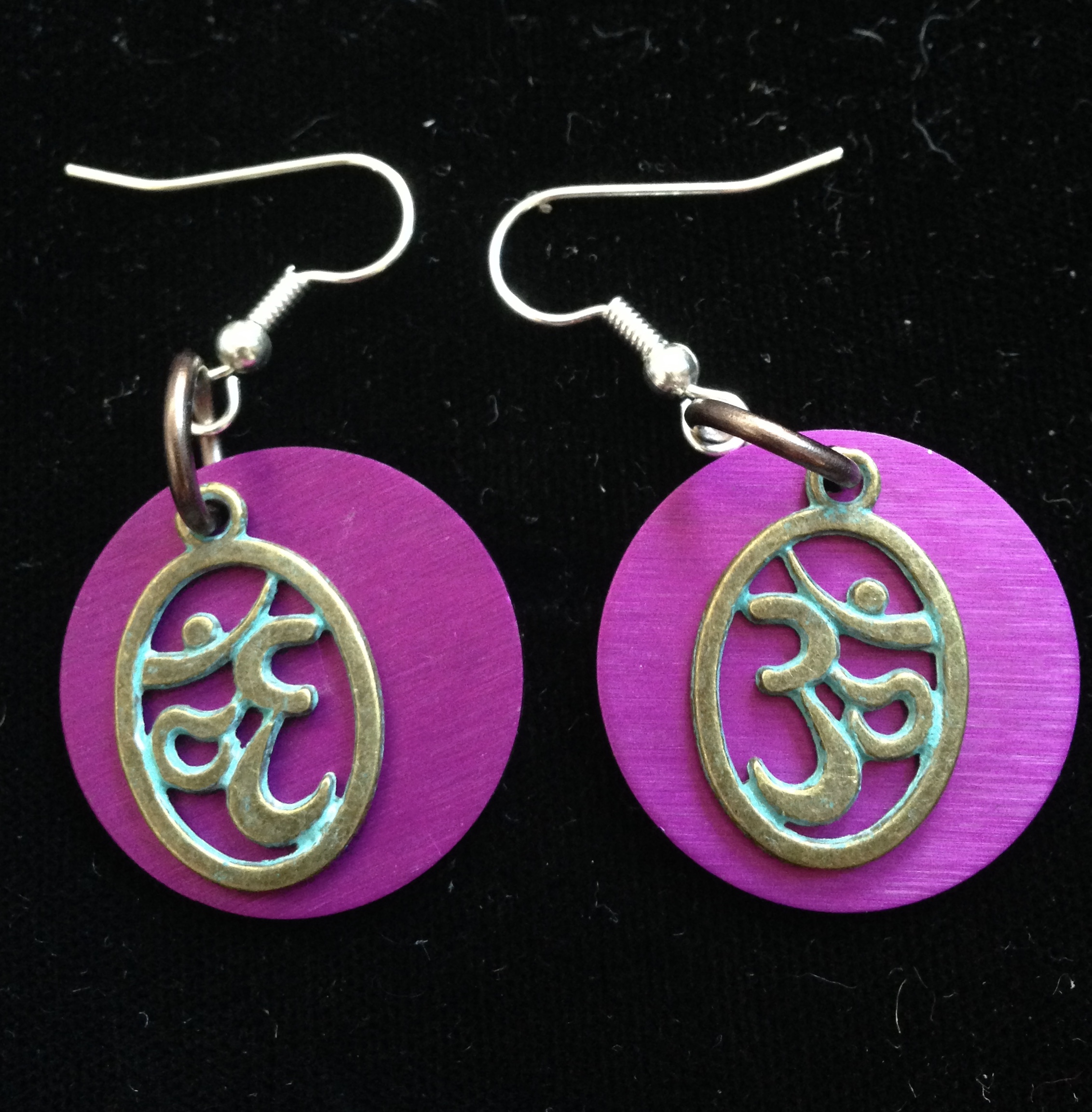 Ohm and Purple Disk Earrings