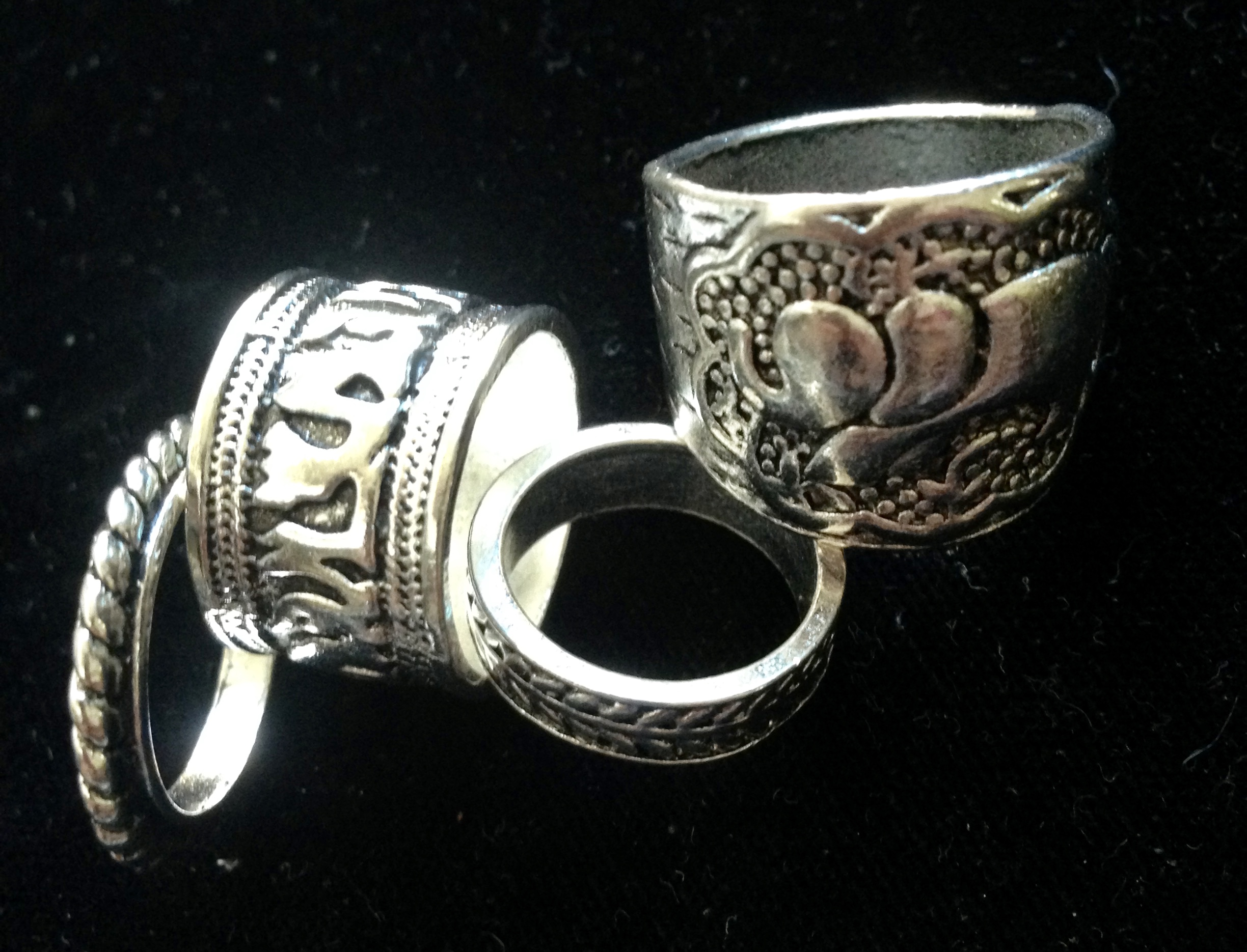 Four Mixed Silver Rings