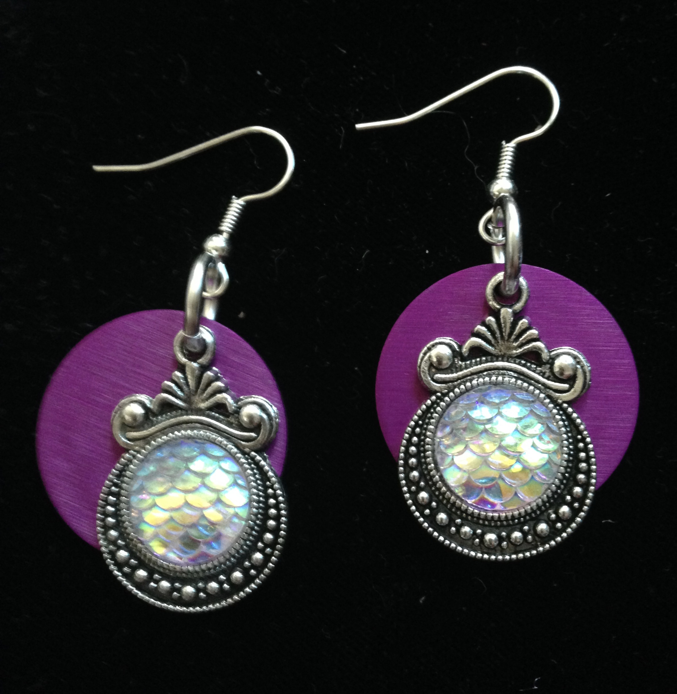Mermaid Fish Scale Earrings with Purple Disks