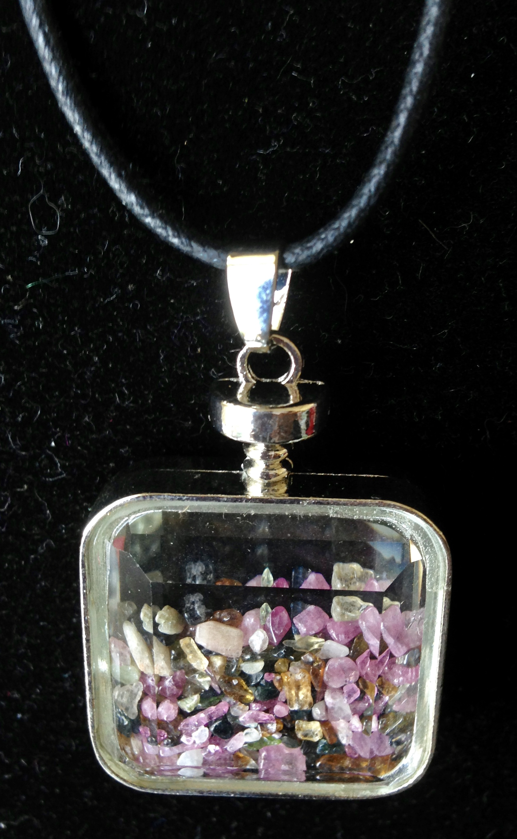 Tourmaline Chips in Glass Bottle Pendant