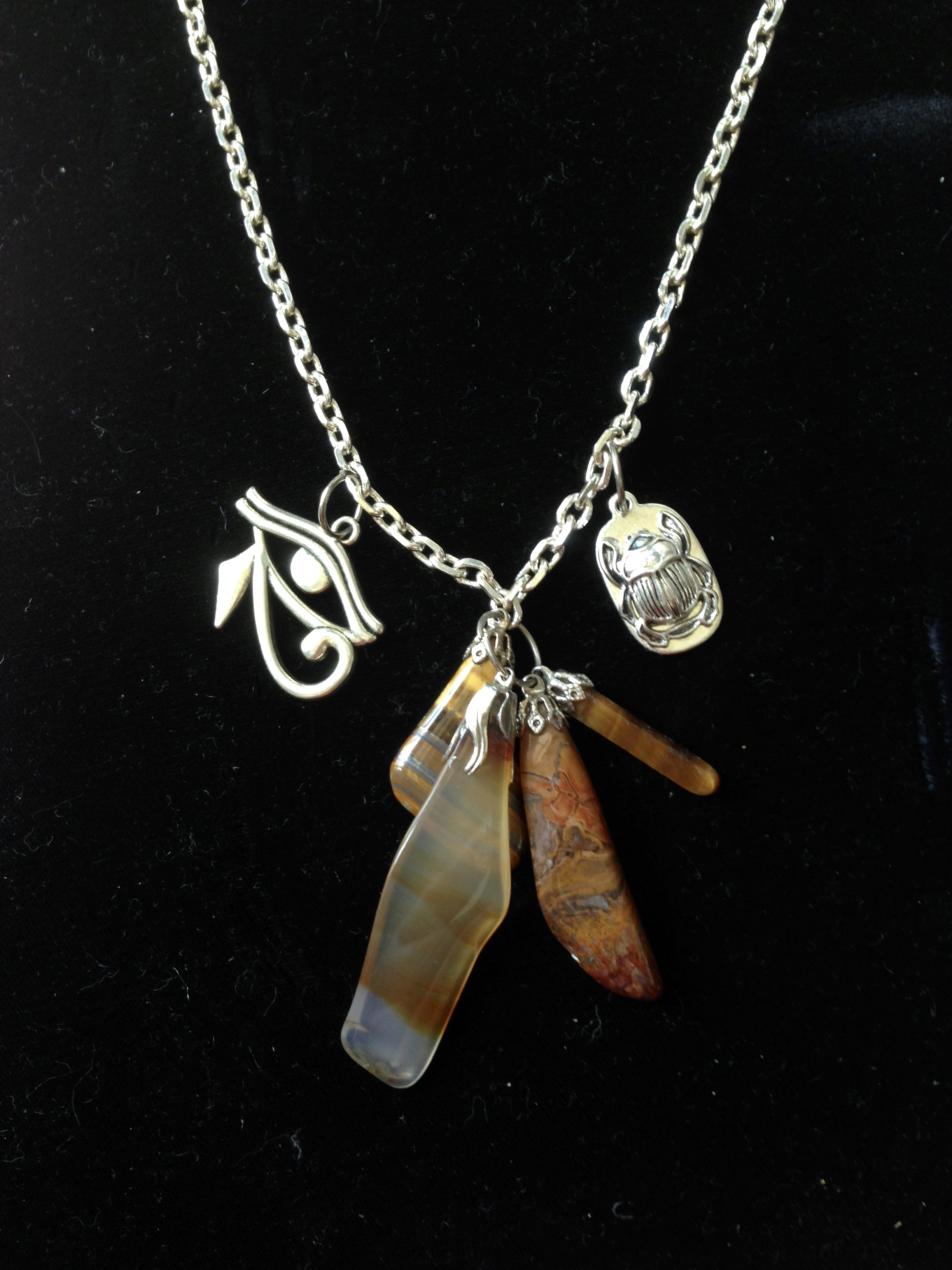 Agate, Tiger Eye, Jasper w/Egyptian focus Pendant
