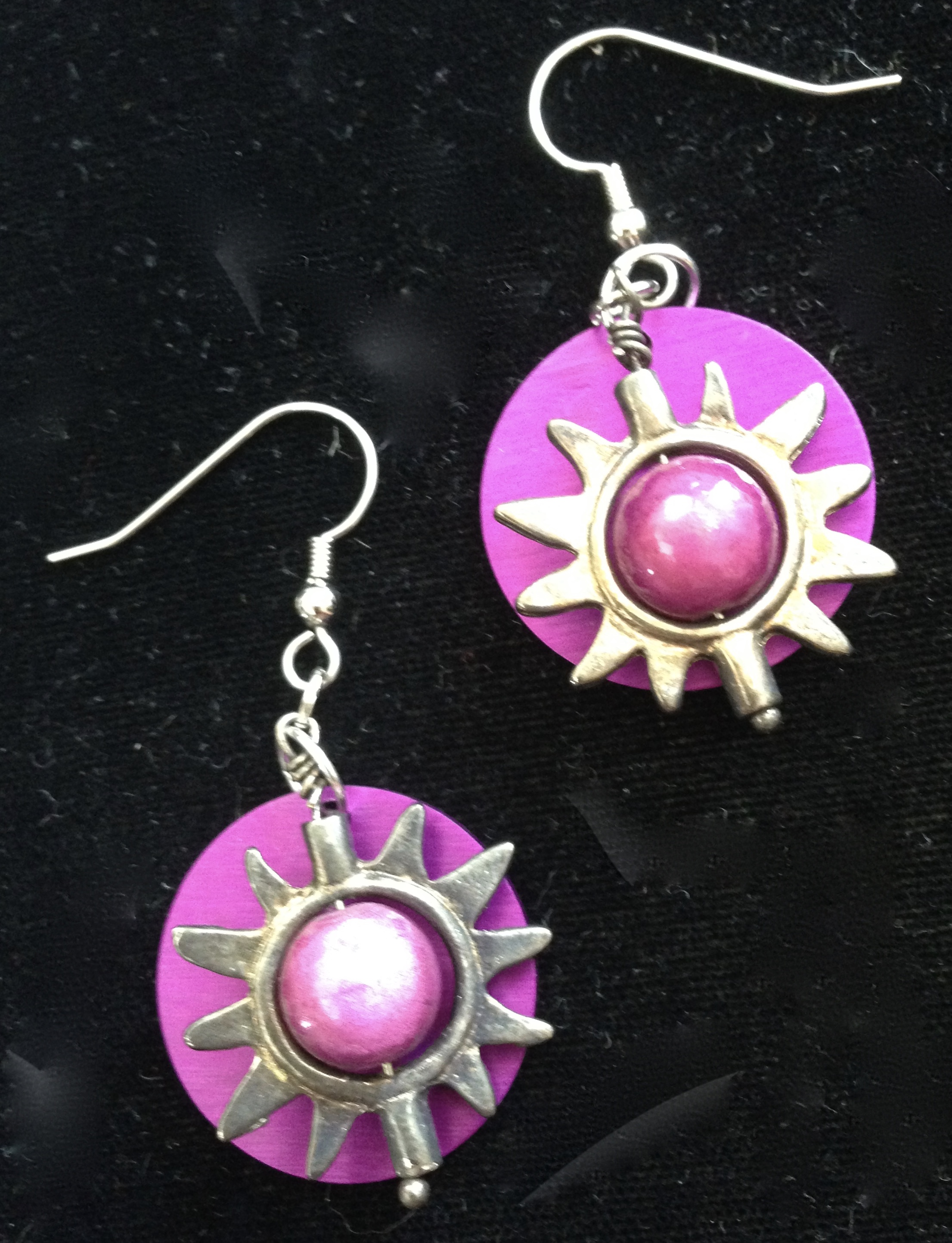 Purple Sun Beads and Energy Disk Earrings