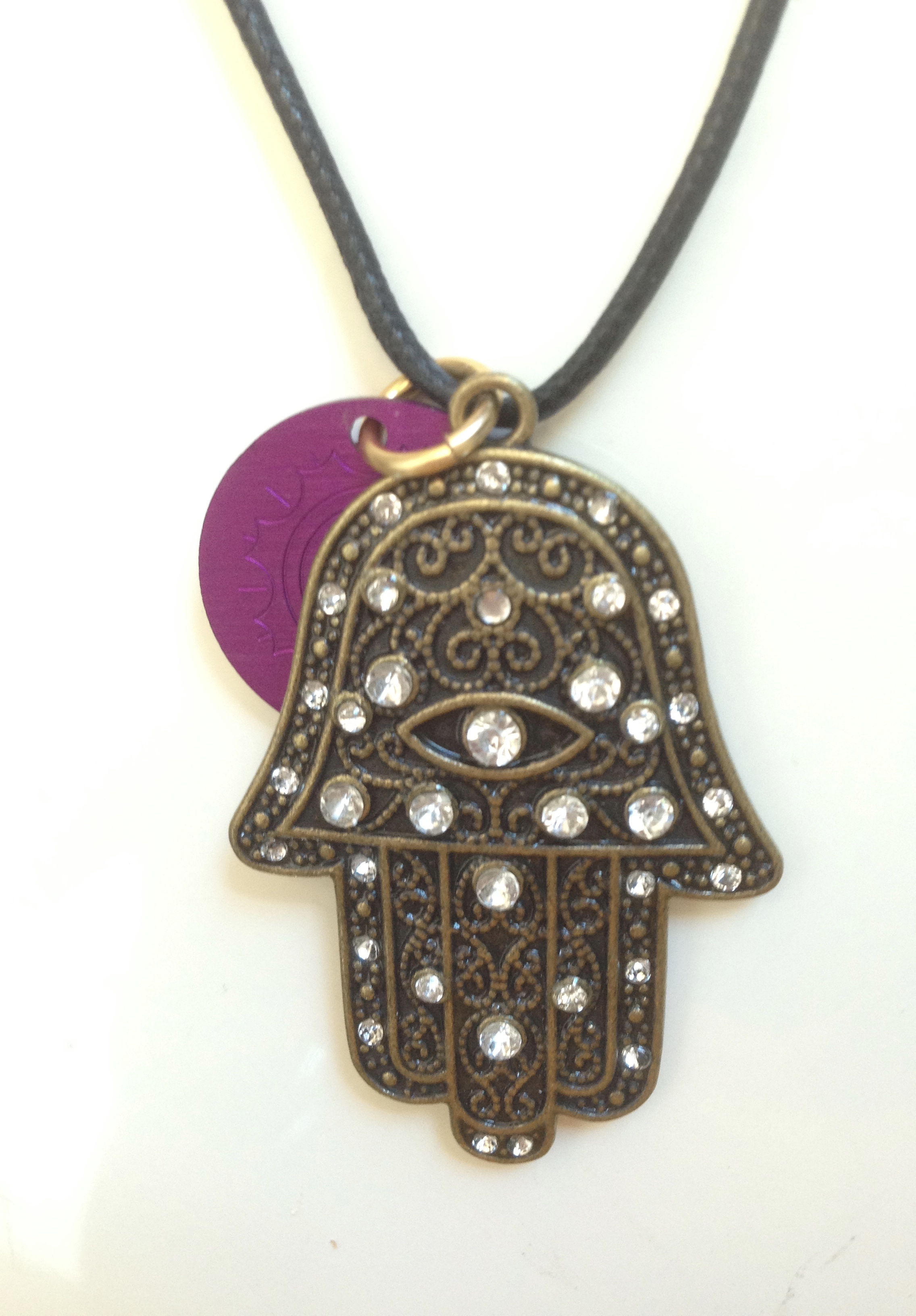 Hand of Fatima with Tesla Energy Disk Necklace