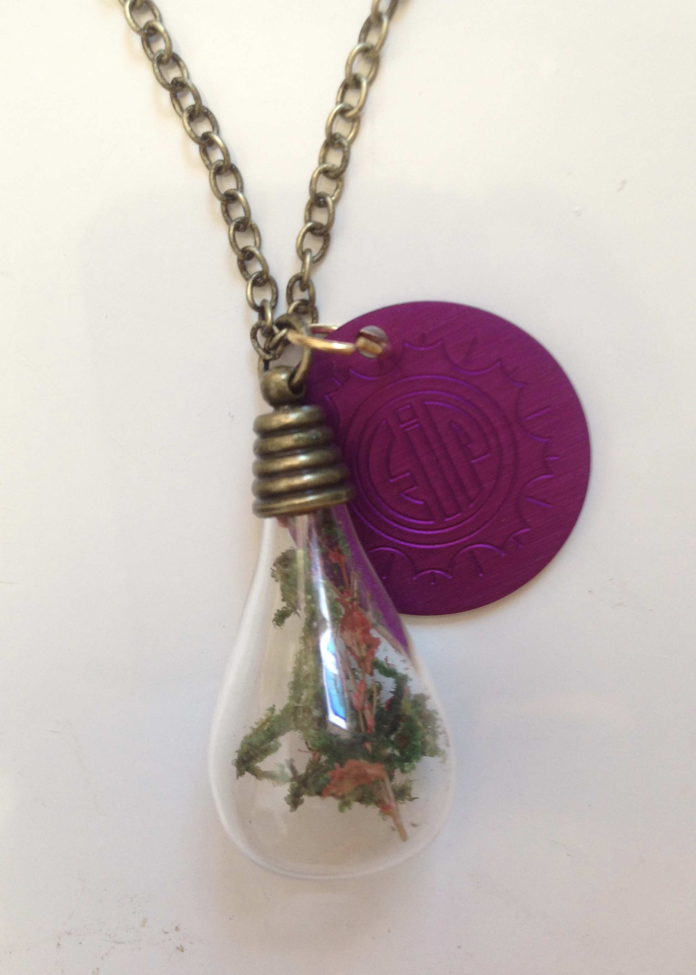 SALE: Mini Terrariam Necklace with Purple Disk