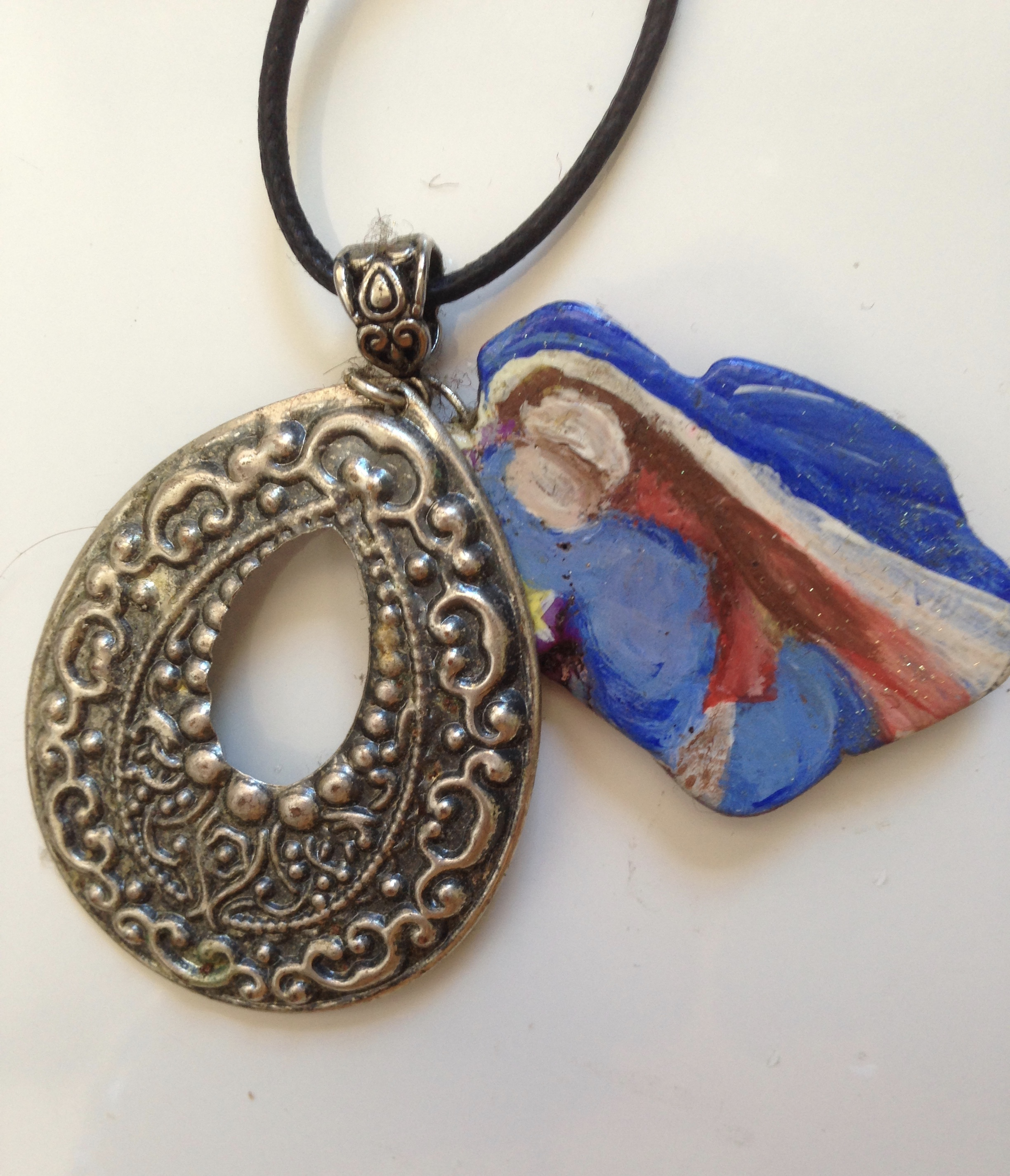 Hand-painted Mary Orgonite Necklace