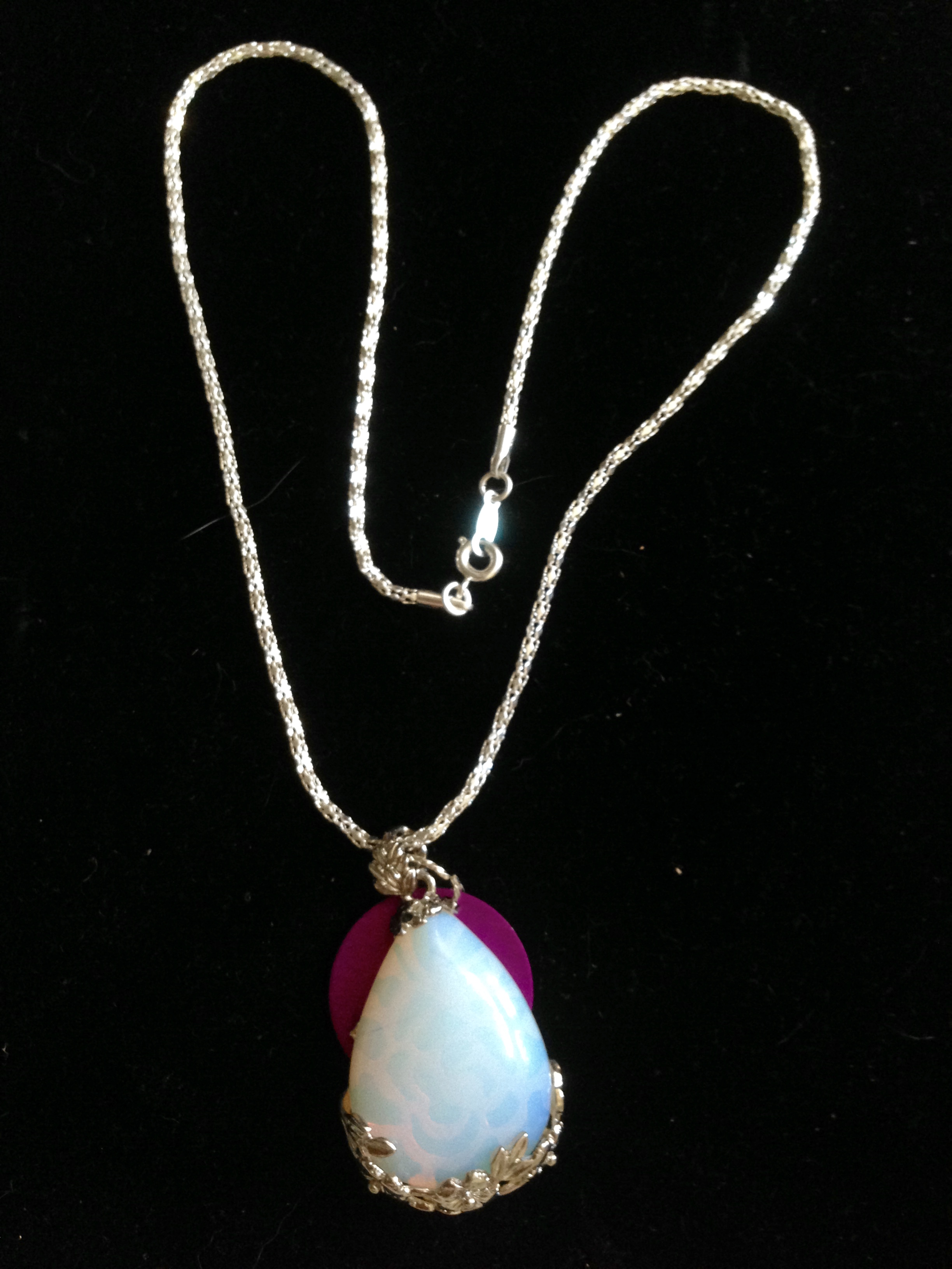Large Opalite Tear Drop with Disk Necklace