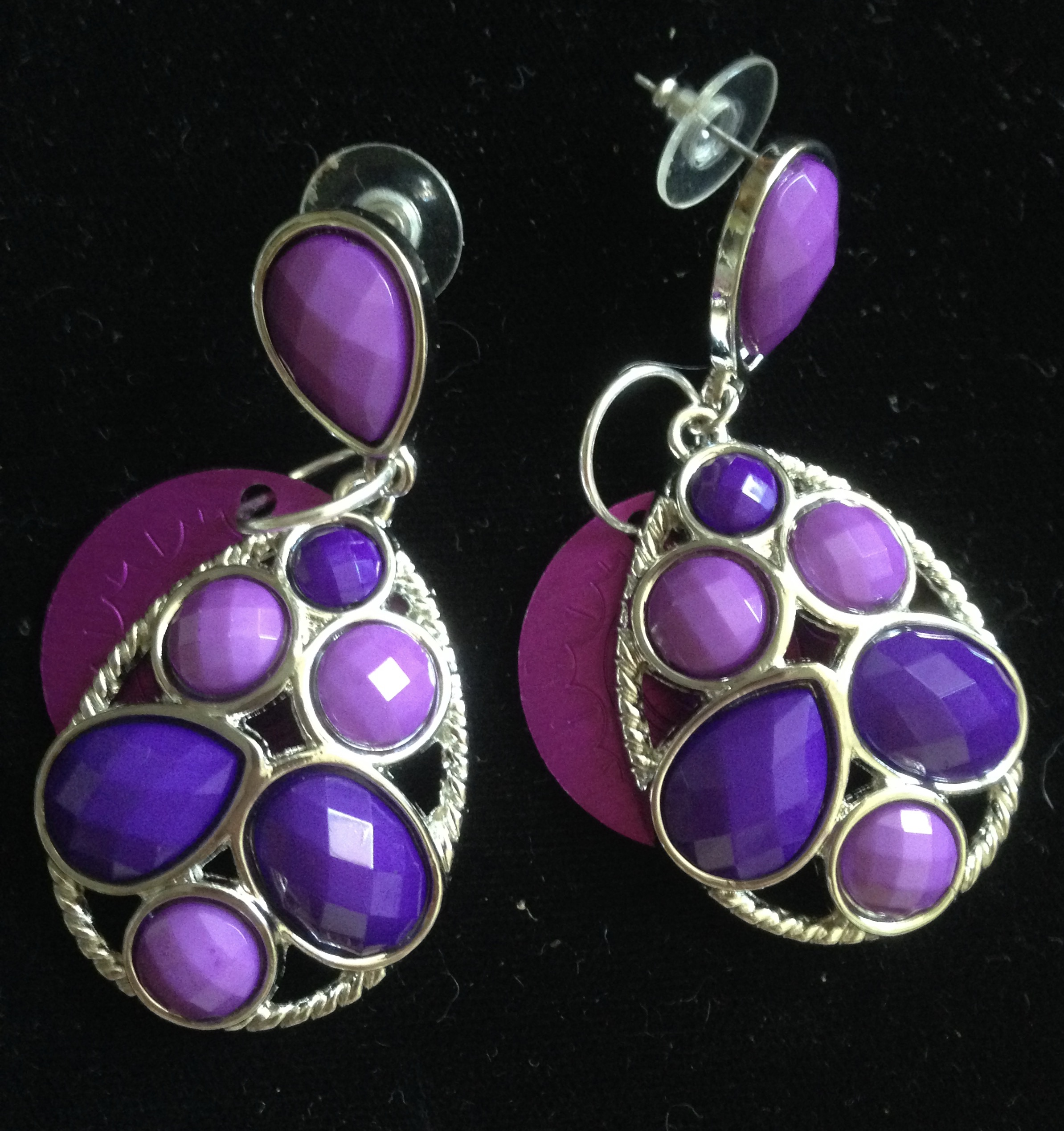 SALE: Purple Power Earrings with Purple Disks