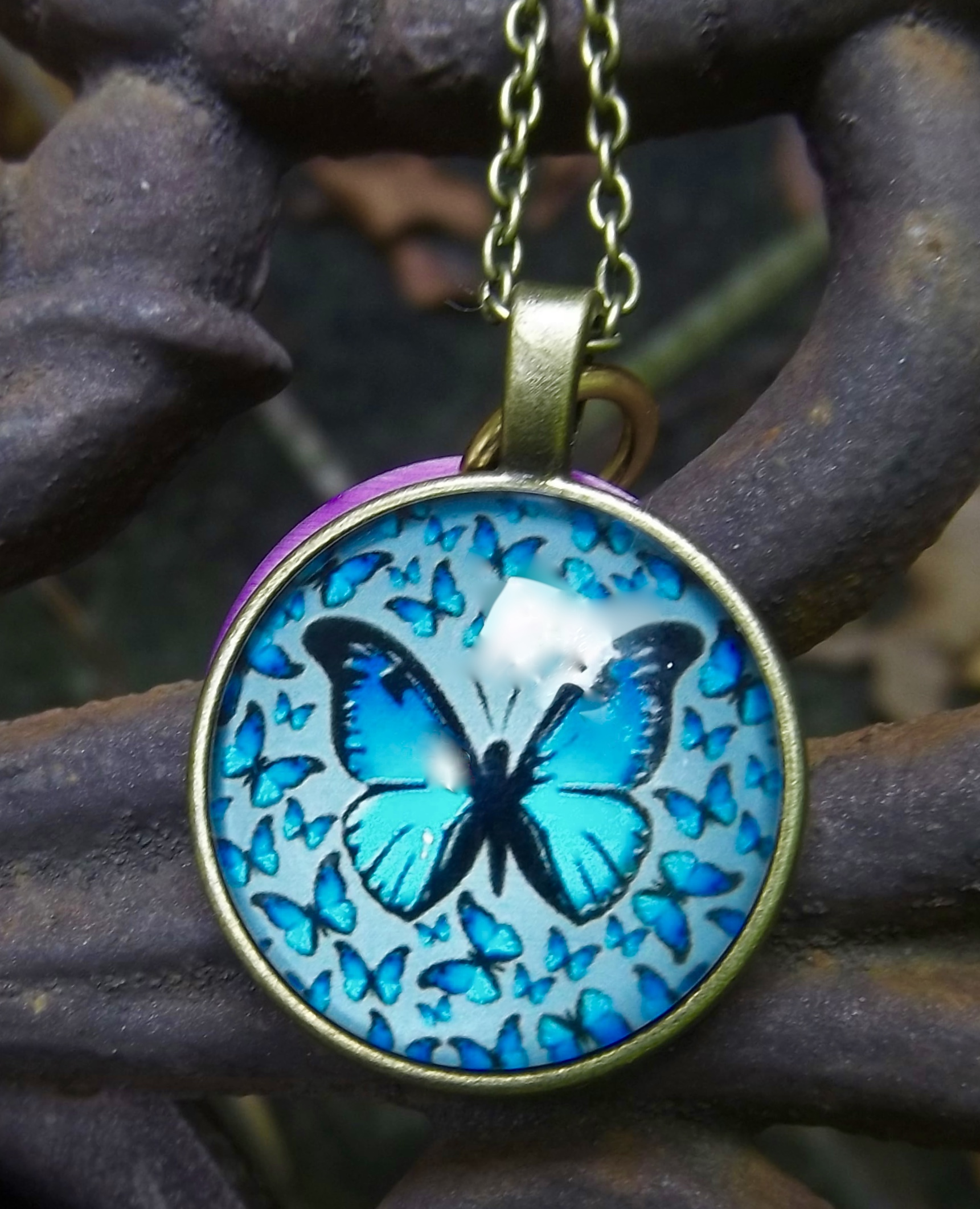 Blue Butterflies with Energy Disk Necklace