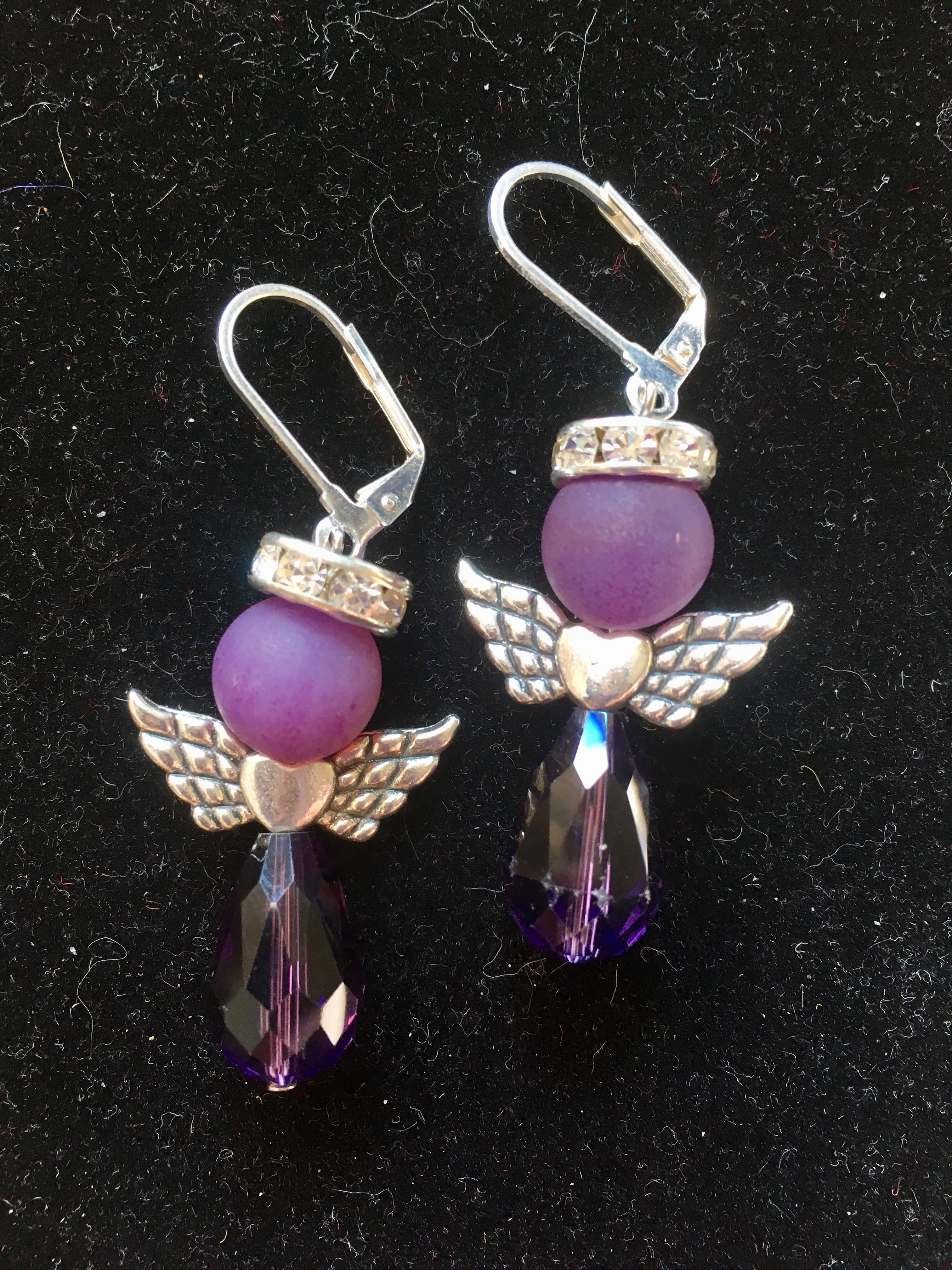 SALE: Large Purple Angel Earrings