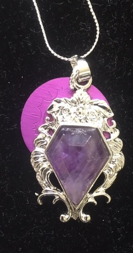 Diamond-Shaped Amethyst with Energy Disk Necklace