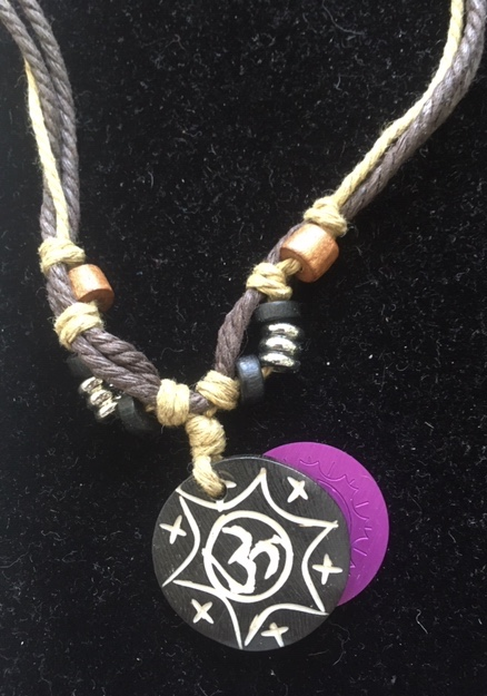 OM Tribal Necklace with Purple Energy Disk