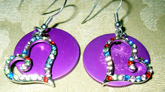 Multi Crystal Heart earrings with Disks- Sparkly