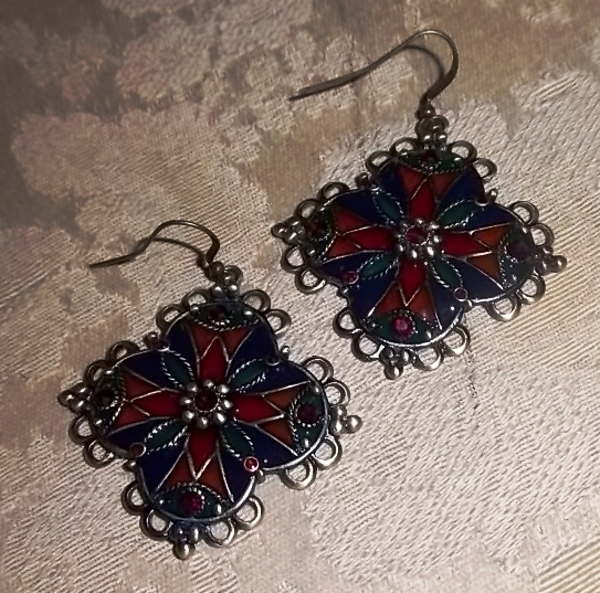 Stained Glass - Exotic Earrings w/Energy Disks