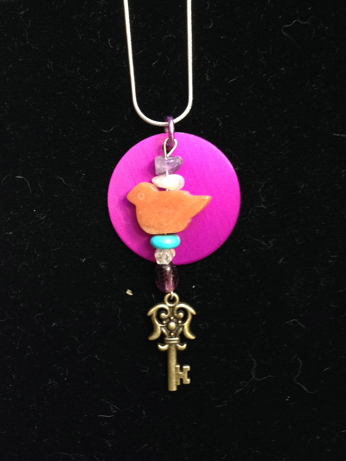 BIRD, KEY, ENERGY DISK NECKLACE