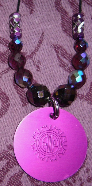BRILLIANT CZECH PURPLE CRYSTALS & DISK NECKLACE