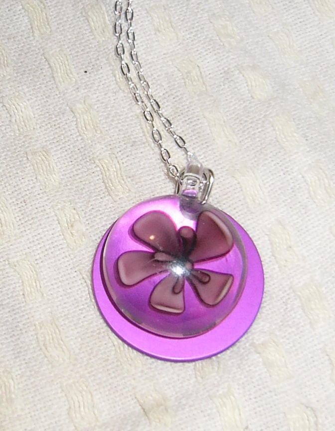 Genuine Flower Glass Necklace