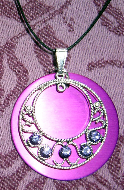 Elegant PURPLE RHINESTONES Circle with PURPLE DISK