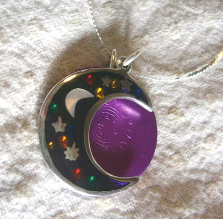 Silver Mystic Moon & Stars w/ disk Necklace