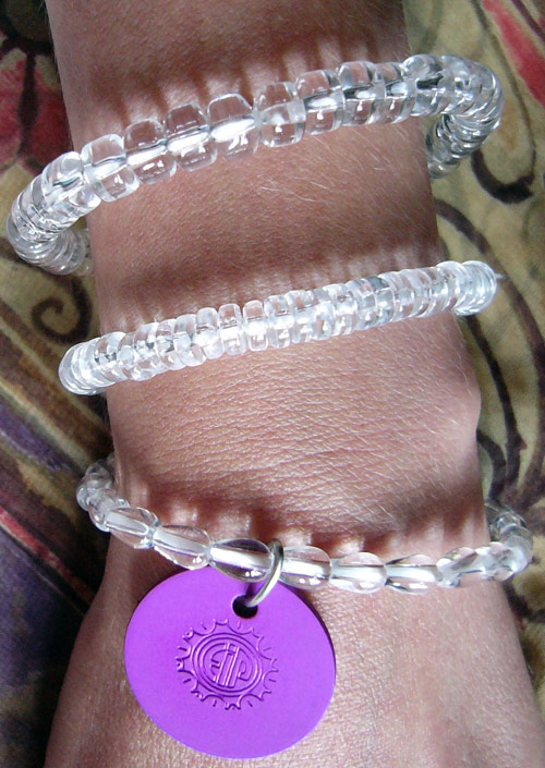 Clear Crystal Quartz Stretch Bracelets w/Disk