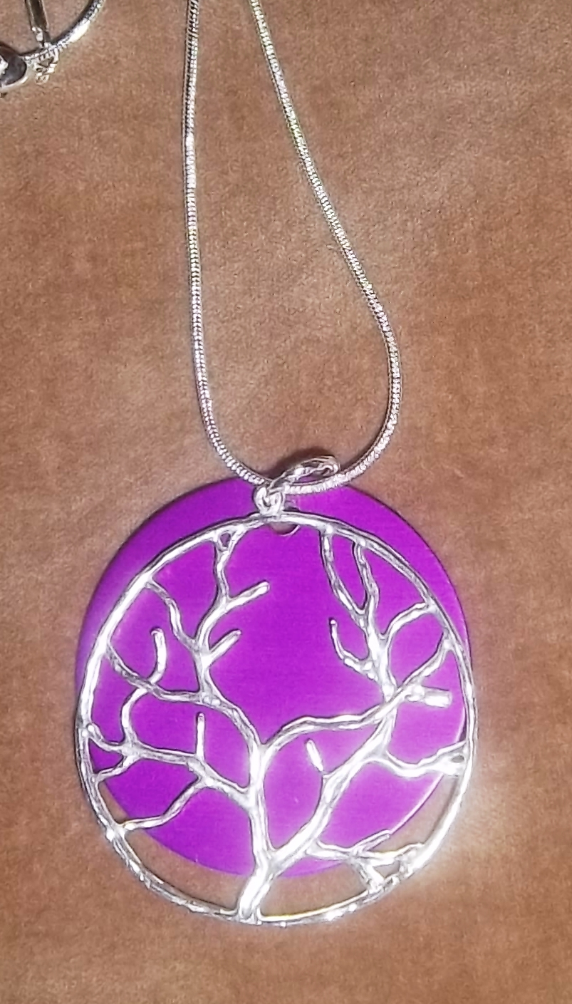 Tree of Life Silver Necklace with Lg Purple Disk